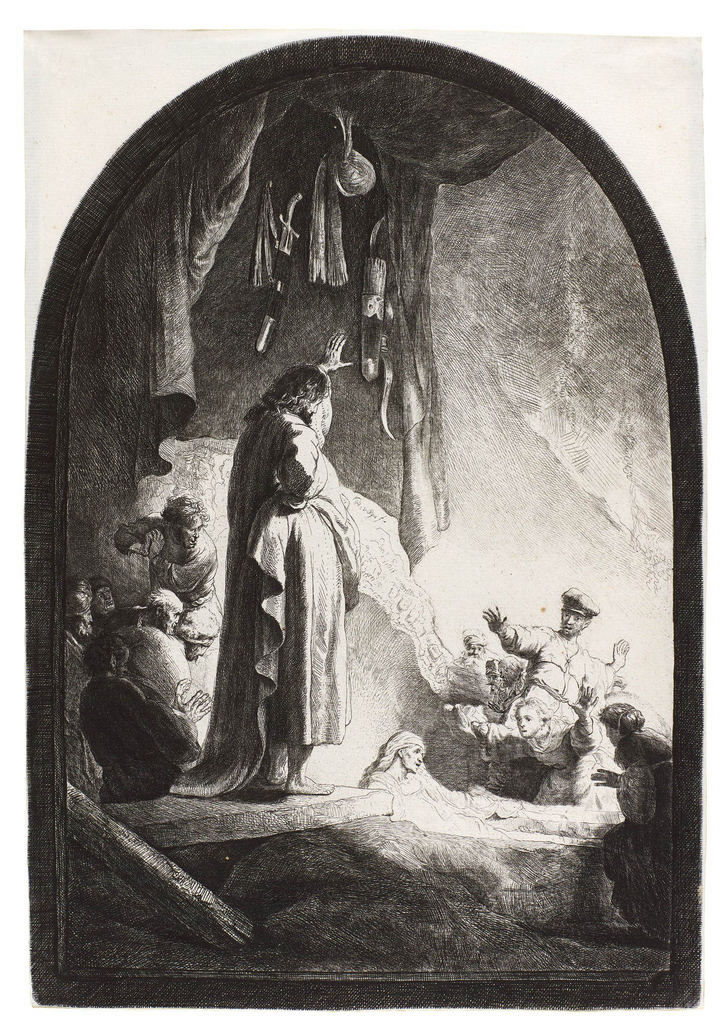 REMBRANDT HARMENSZ. VAN RIJN | THE RAISING OF LAZARUS: THE LARGER PLATE (B., HOLL. 73; NEW HOLL. 113; H. 96)