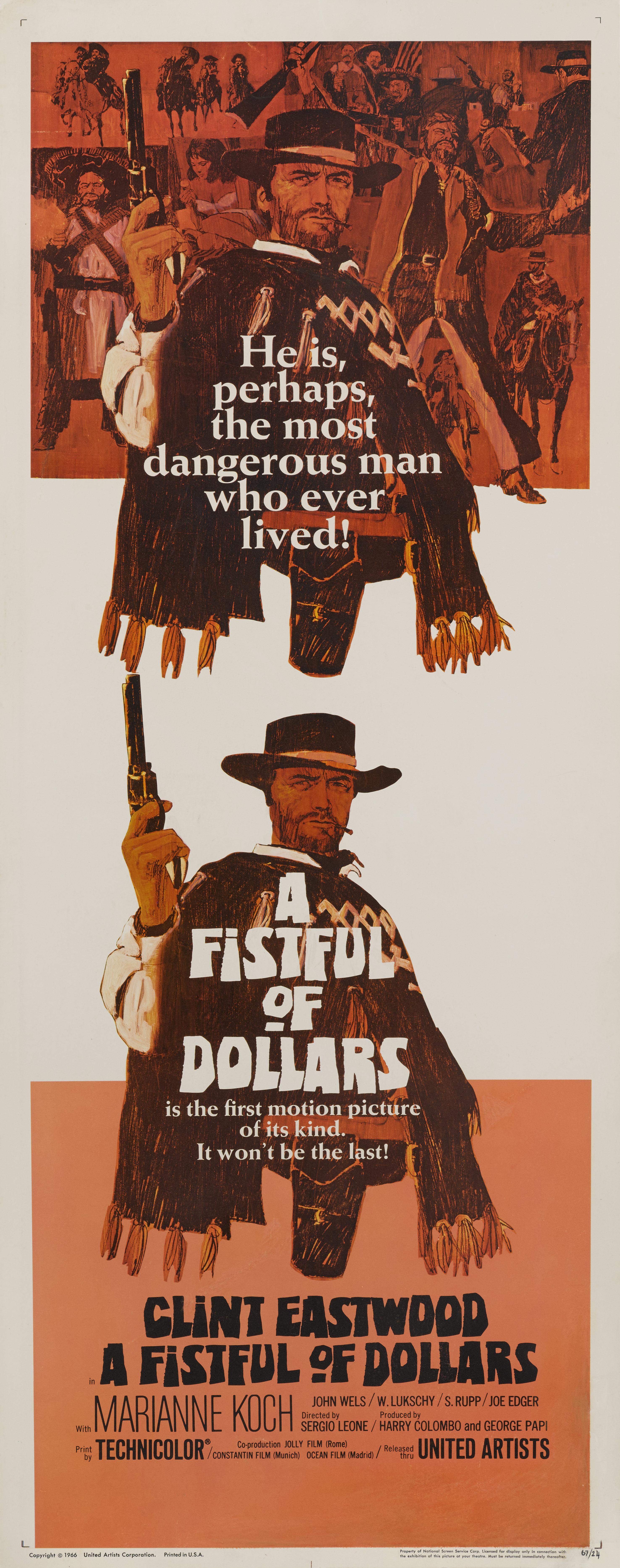 View full screen - View 1 of Lot 34. Per un Pugno di Dollari / A Fistful of Dollars (1964) Poster, US  .