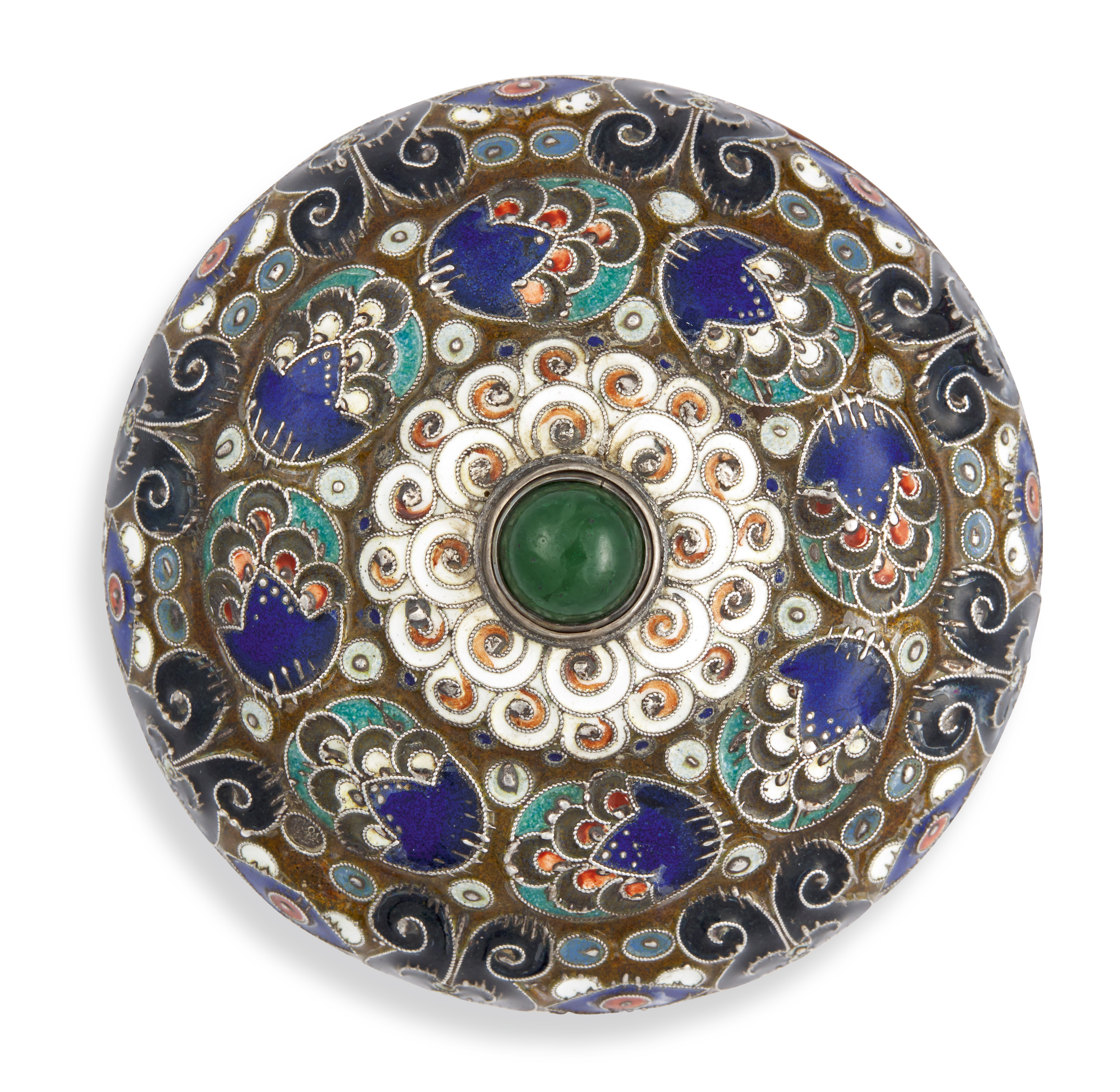 View full screen - View 1 of Lot 263. A silver and cloisonné enamel bellpush, probably by Feodor Rückert, 1908-1917.