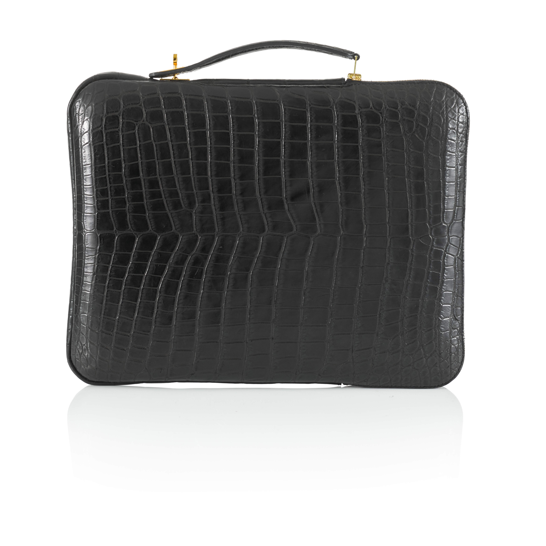 View full screen - View 1 of Lot 143. Black Petit H Crocodile Tablet Bag.