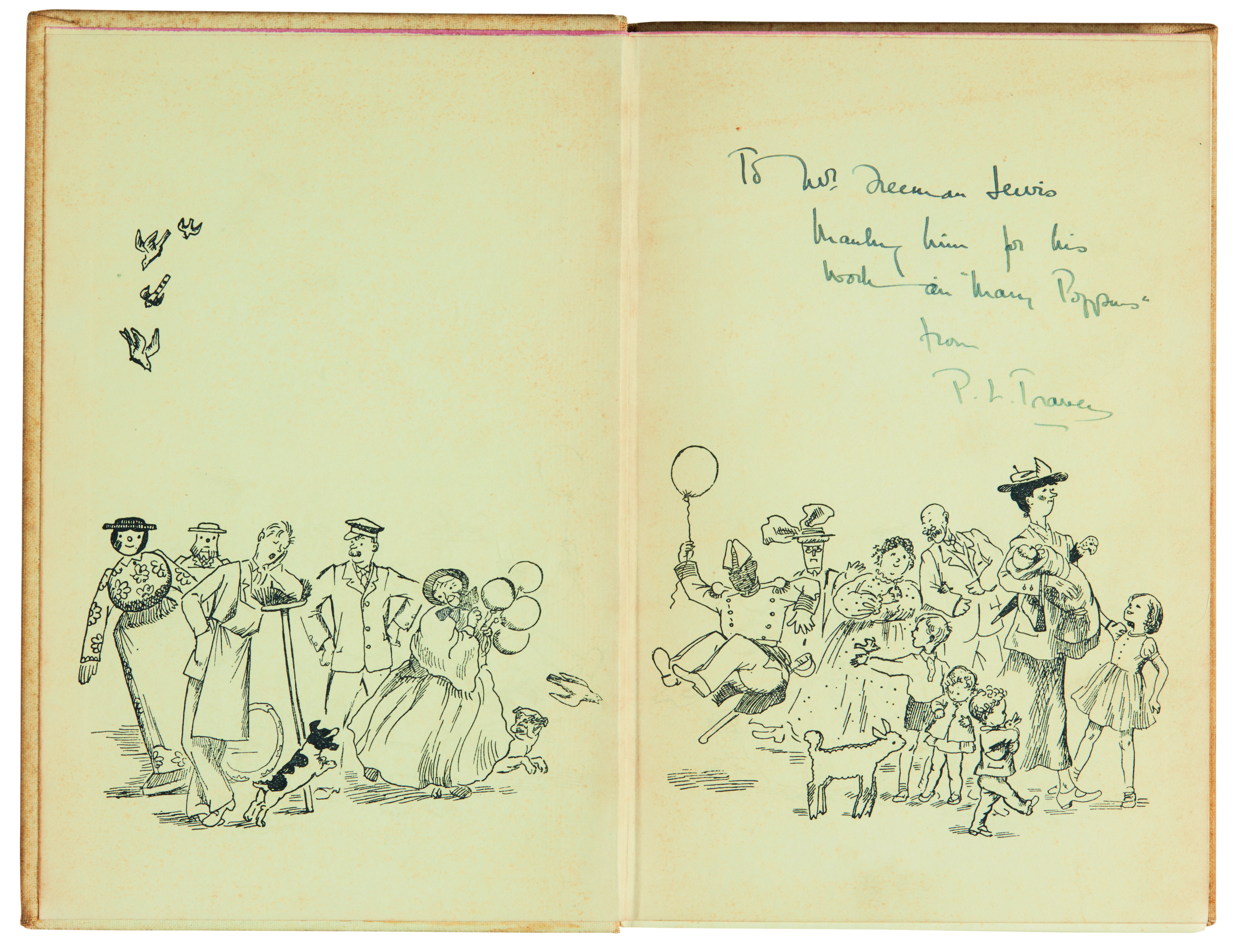 View full screen - View 1 of Lot 267. Travers, Mary Poppins Comes Back, 1935, inscribed to Freeman Lewis.