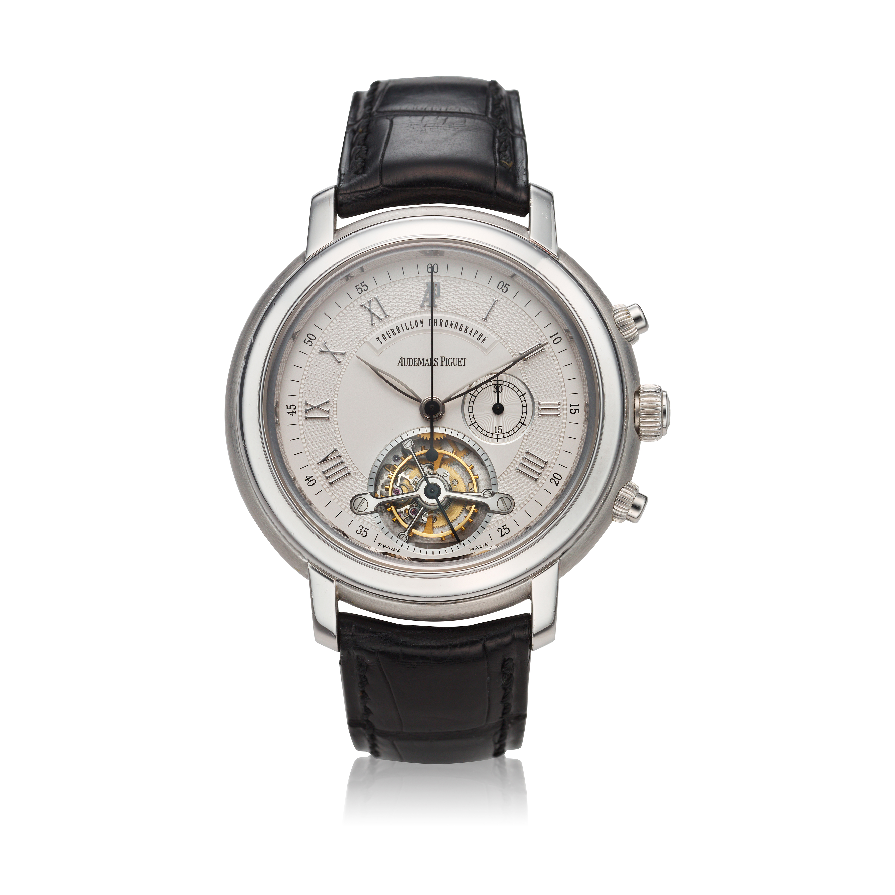 View full screen - View 1 of Lot 368. Reference 25909BC Jules Audemars  A white gold tourbillon chronograph wristwatch, Circa 2000 .