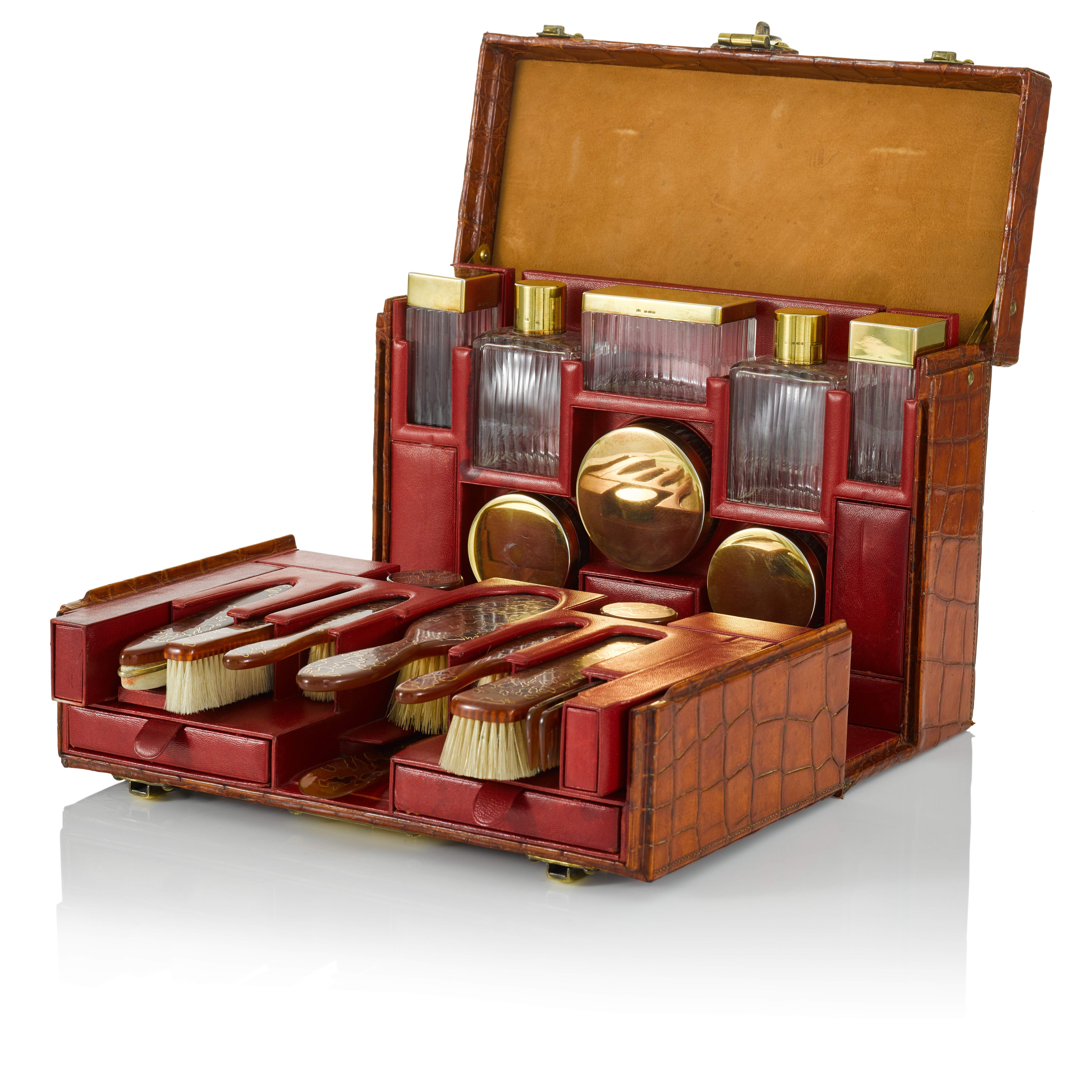 View full screen - View 1 of Lot 98. Art Deco Torino Crocodile Skin Gentleman's Dressing Case, Complete with all of the Original Fittings commissioned in 1934..