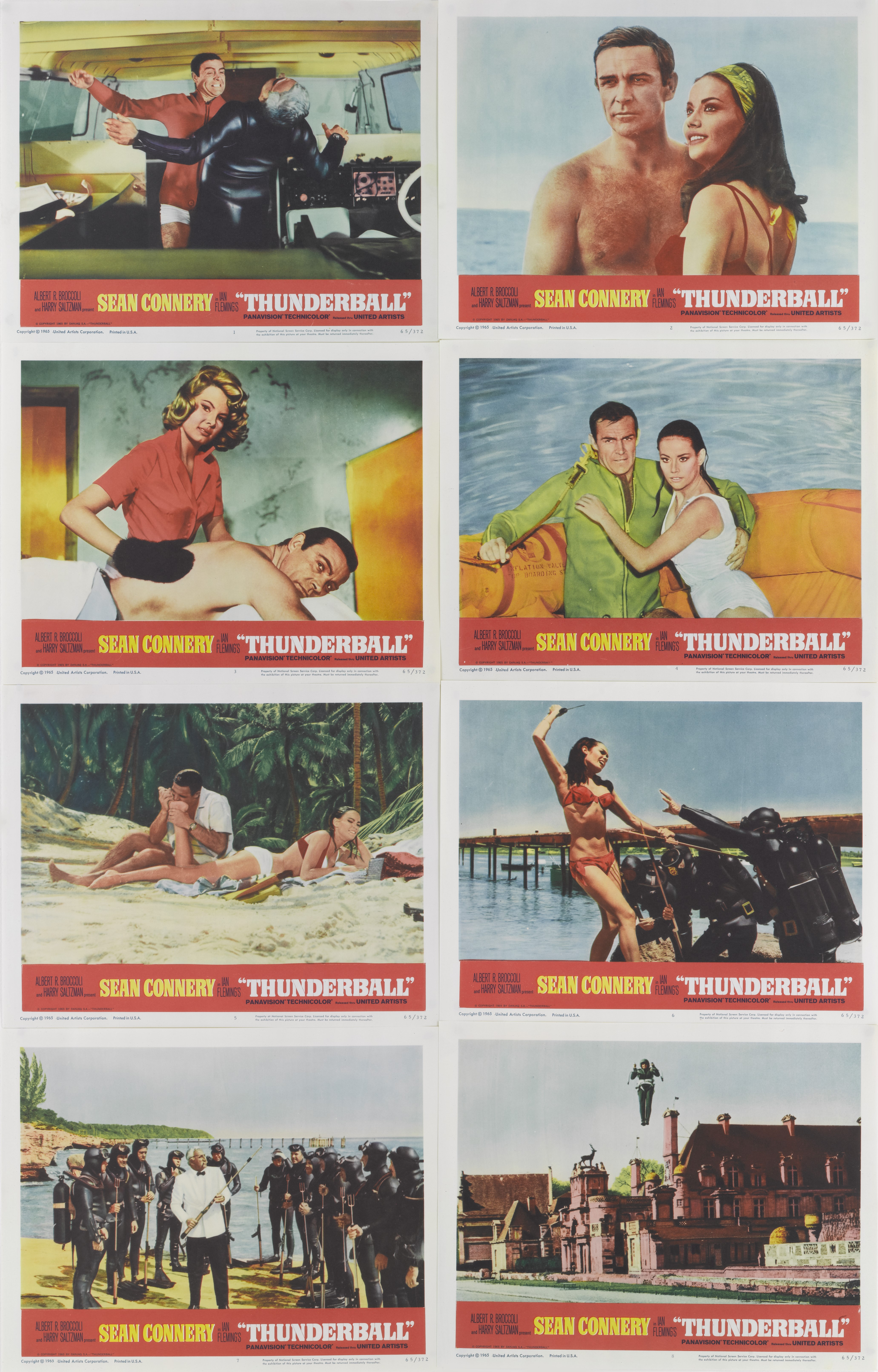 View 1 of Lot 61. THUNDERBALL (1965) SET OF 8 LOBBY CARDS, US  .