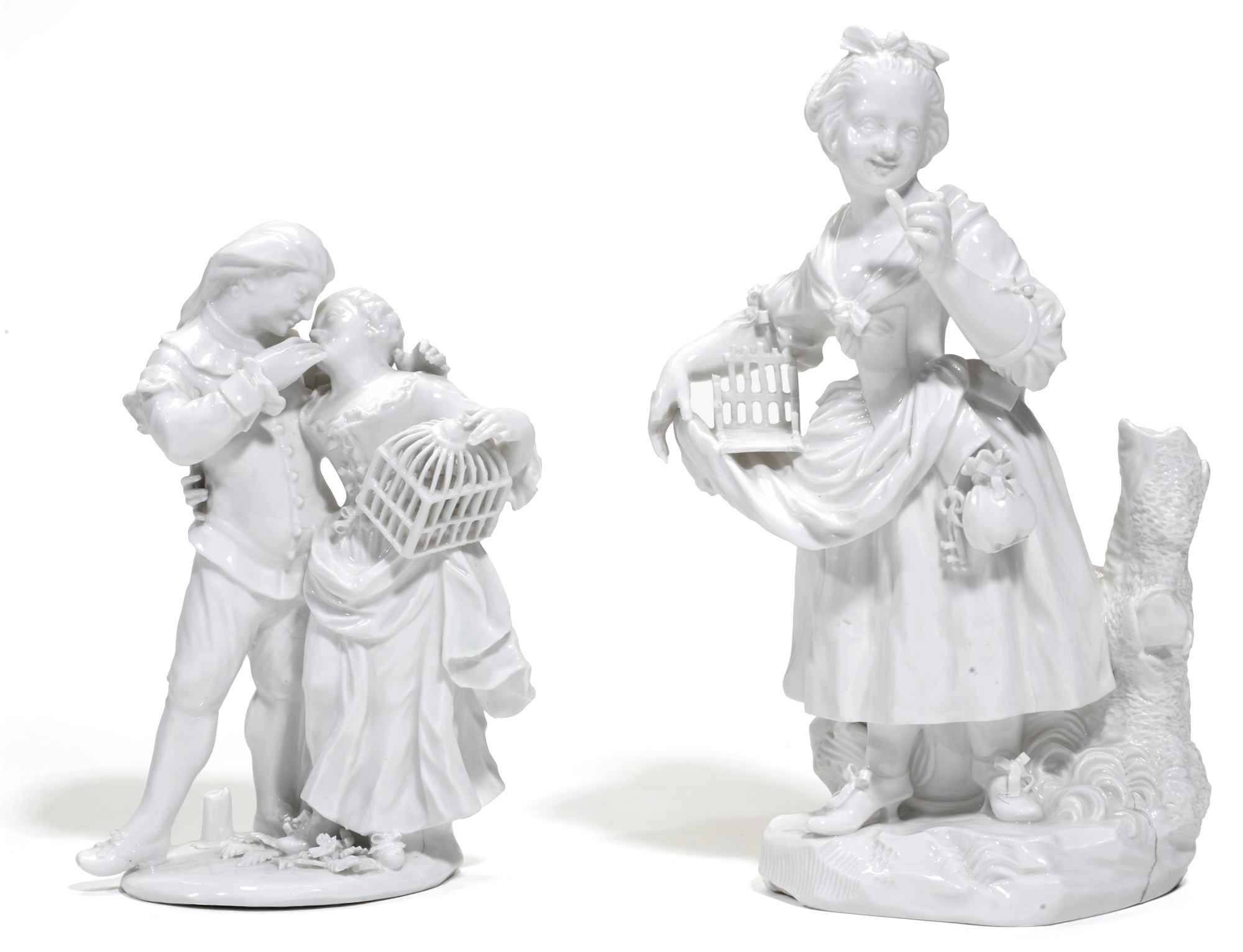 A BERLIN (WEGLEY) WHITE COMMEDIA DELL'ARTE GROUP AND A FIGURE OF A GIRL, BOTH CIRCA 1755