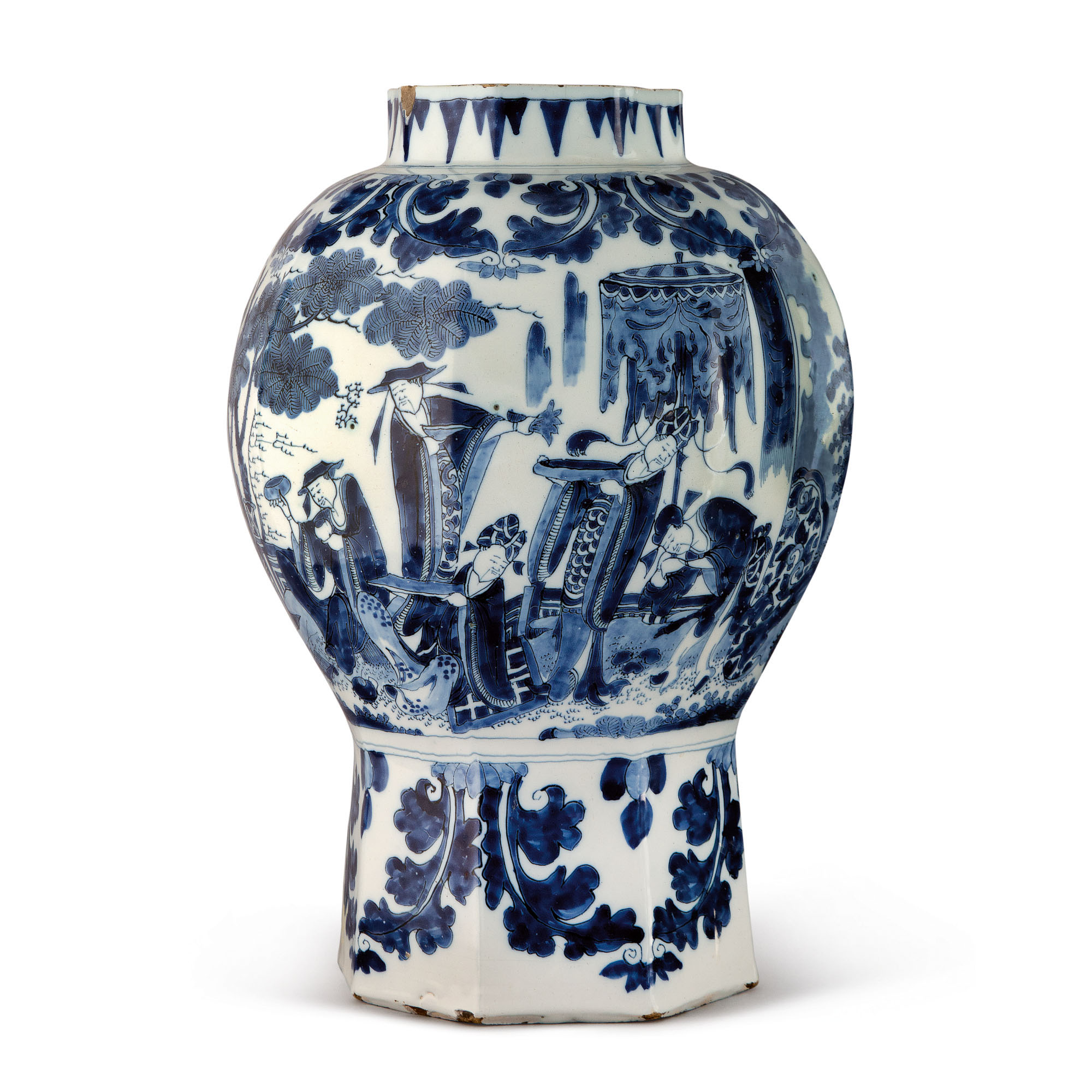 A DUTCH DELFT BLUE AND WHITE BALUSTER VASE, LATE 17TH CENTURY