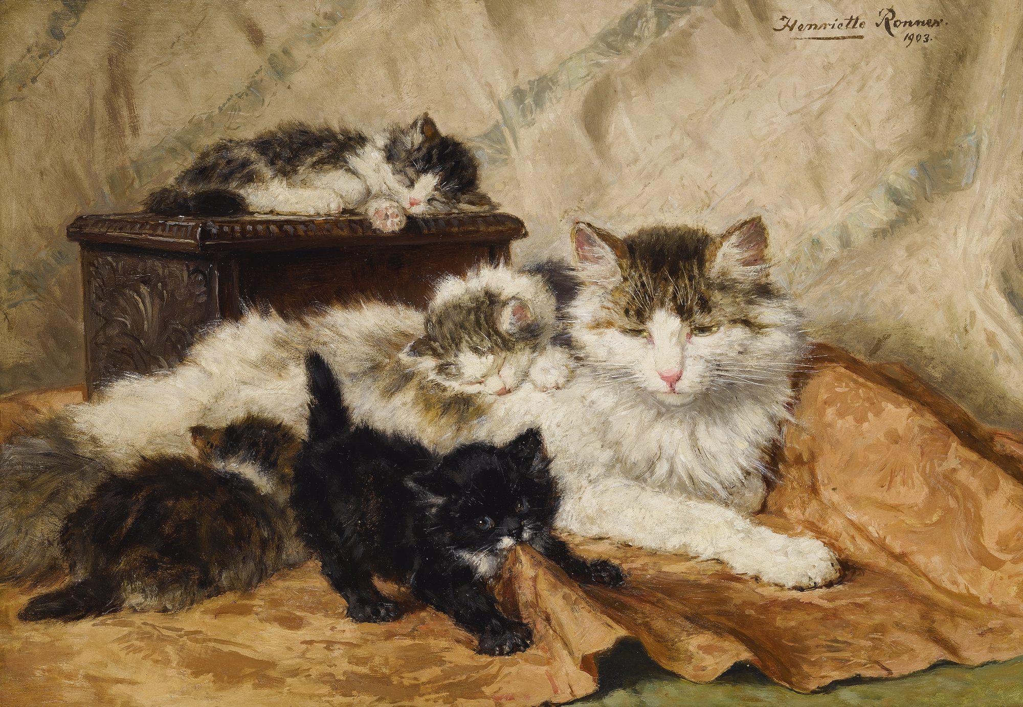 Henriette Ronner-Knip | A MOTHER AND HER KITTENS