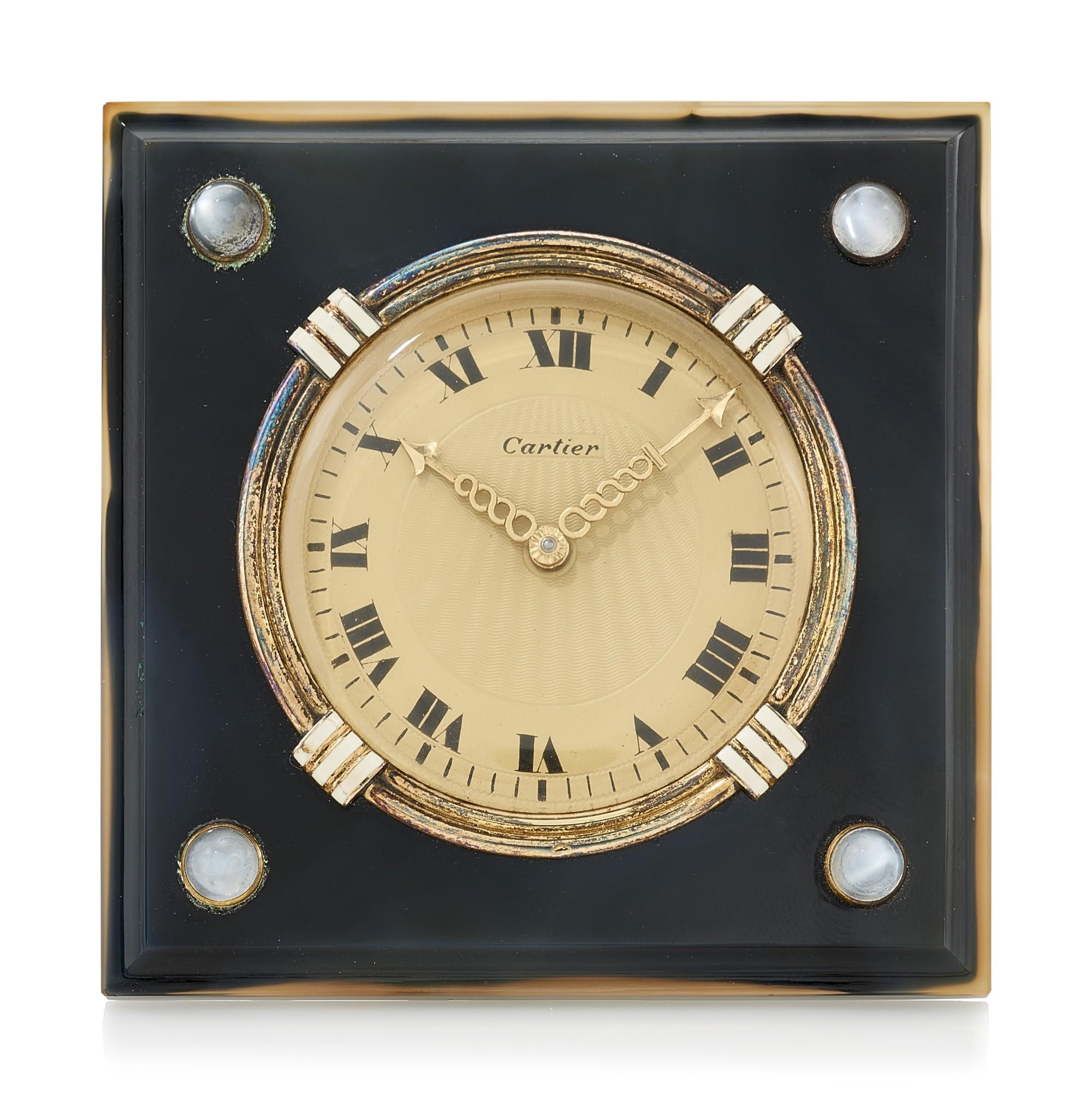 AGATE AND CHALCEDONY DESK CLOCK (OROLOGIO DA TAVOLO IN AGATA E CALCEDONIO), CARTIER