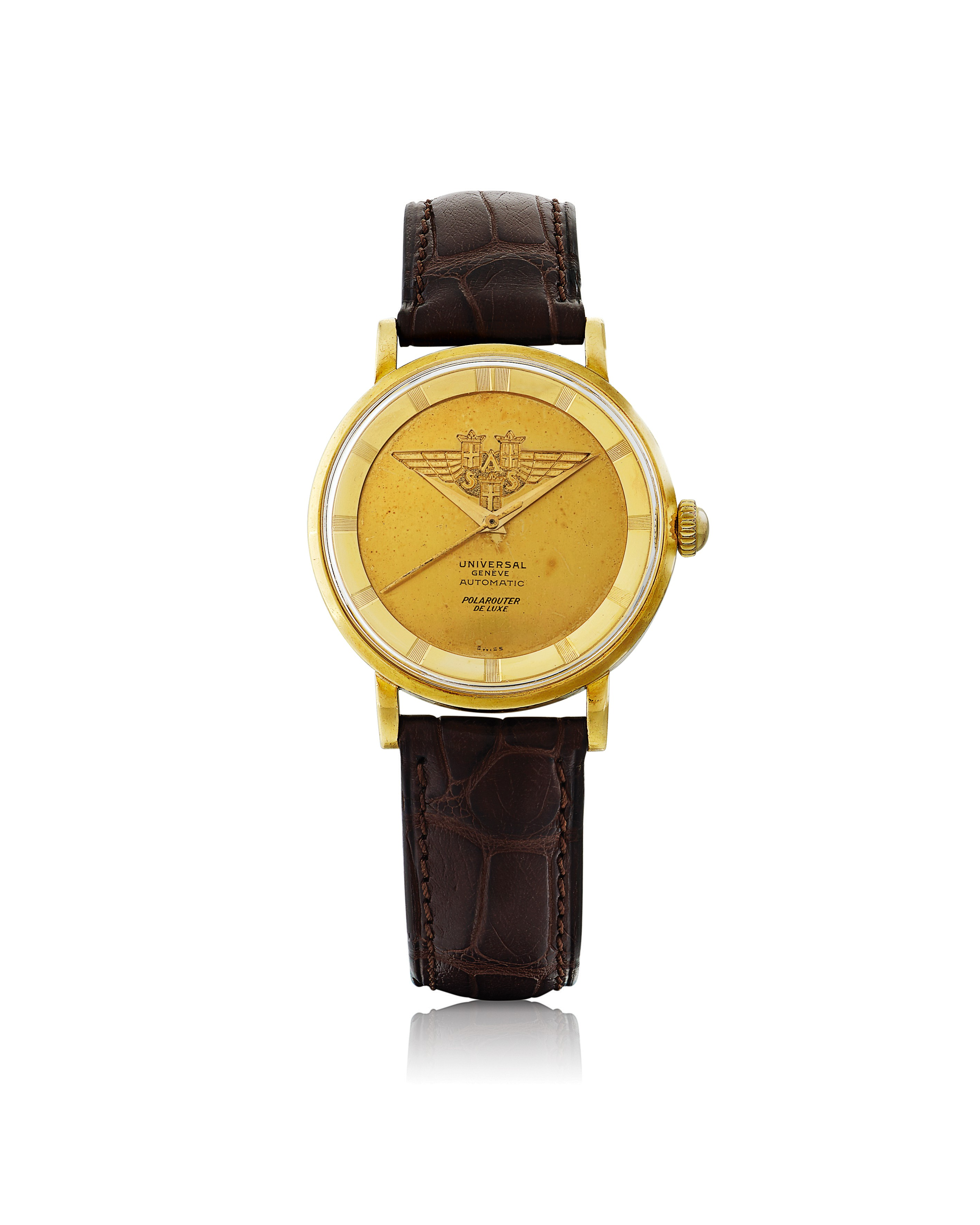 View full screen - View 1 of Lot 32. UNIVERSAL GENÈVE | MADE FOR SCANDINAVIAN AIRLINES SYSTEM: POLAROUTER DELUXE, REF 10234/1  YELLOW GOLD WRISTWATCH CIRCA 1955.