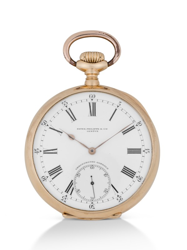 PATEK PHILIPPE | CHRONOMETRO GONDOLO YELLOW GOLD OPEN-FACED WATCH MADE IN 1911