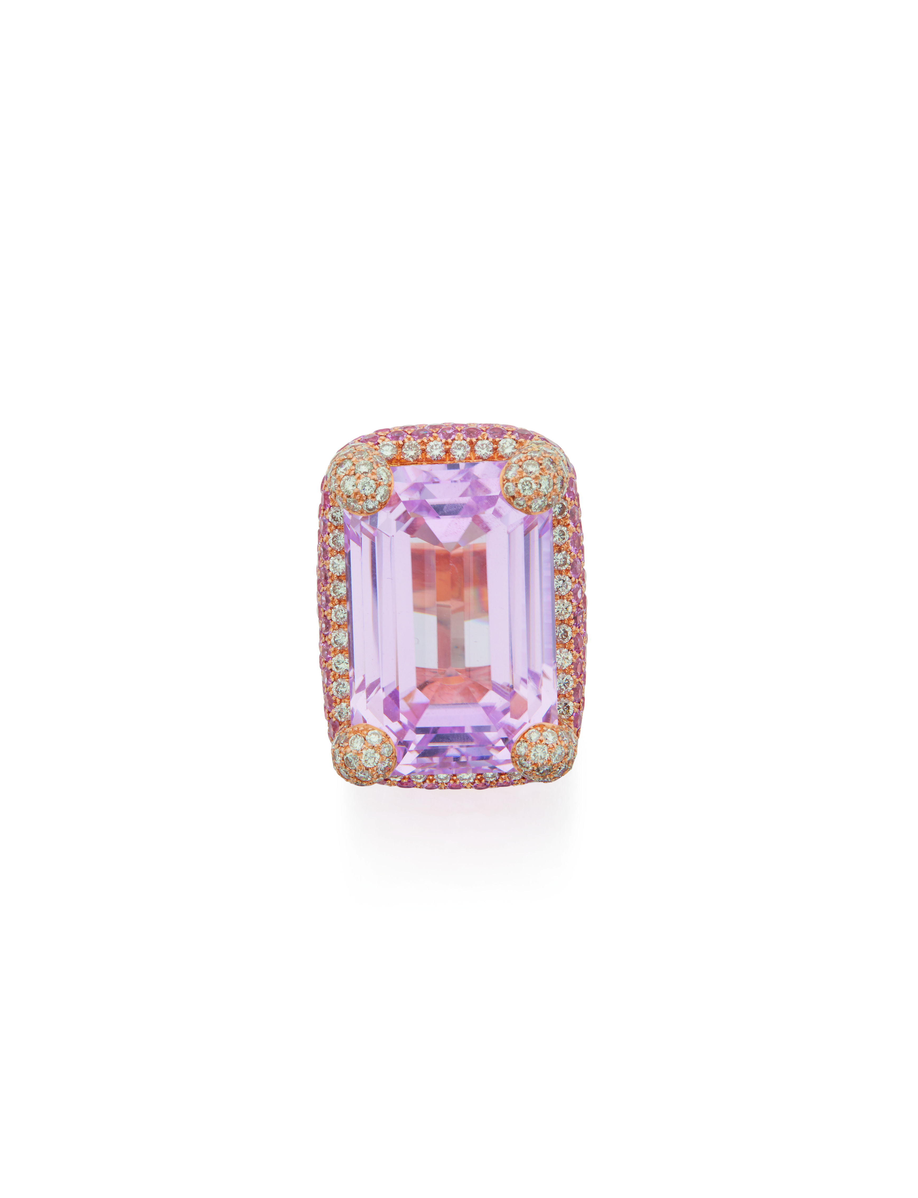 View full screen - View 1 of Lot 25. KUNZITE, PINK SAPPHIRE AND DIAMOND RING, MICHELE DELLA VALLE.