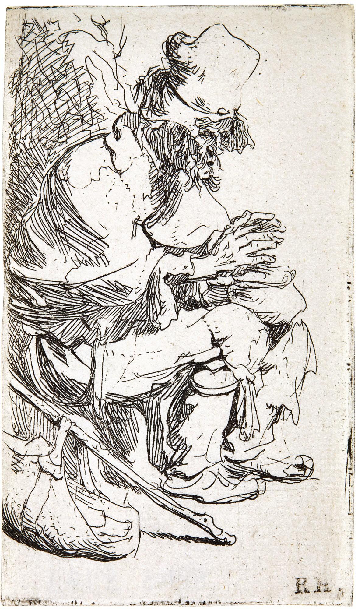 REMBRANDT HARMENSZ. VAN RIJN   BEGGAR SEATED WARMING HIS HANDS AT A CHAFING DISH (B., HOLL. 173; NEW HOLL. 44; H. 8)