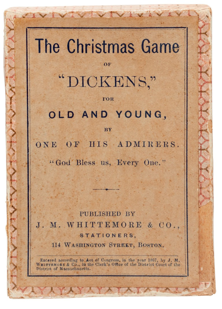 """[Dickens], The Christmas Game of """"Dickens"""", for Old and Young, by One of his Admirers. 1867, 80 original cards in box"""