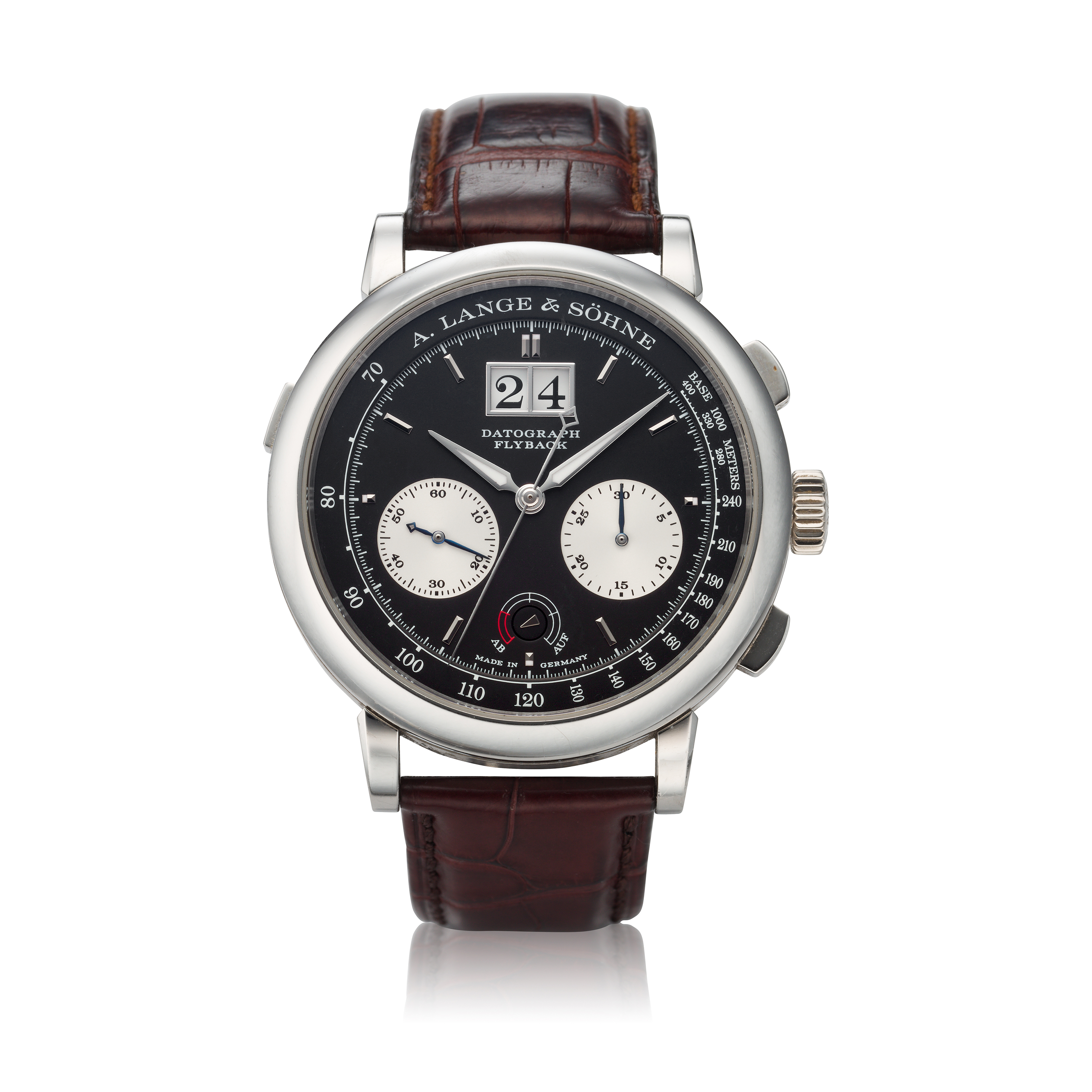 View full screen - View 1 of Lot 291. Reference 405.035 Datograph Up/Down  A platinum flyback chronograph wristwatch with date, Circa 2012 .