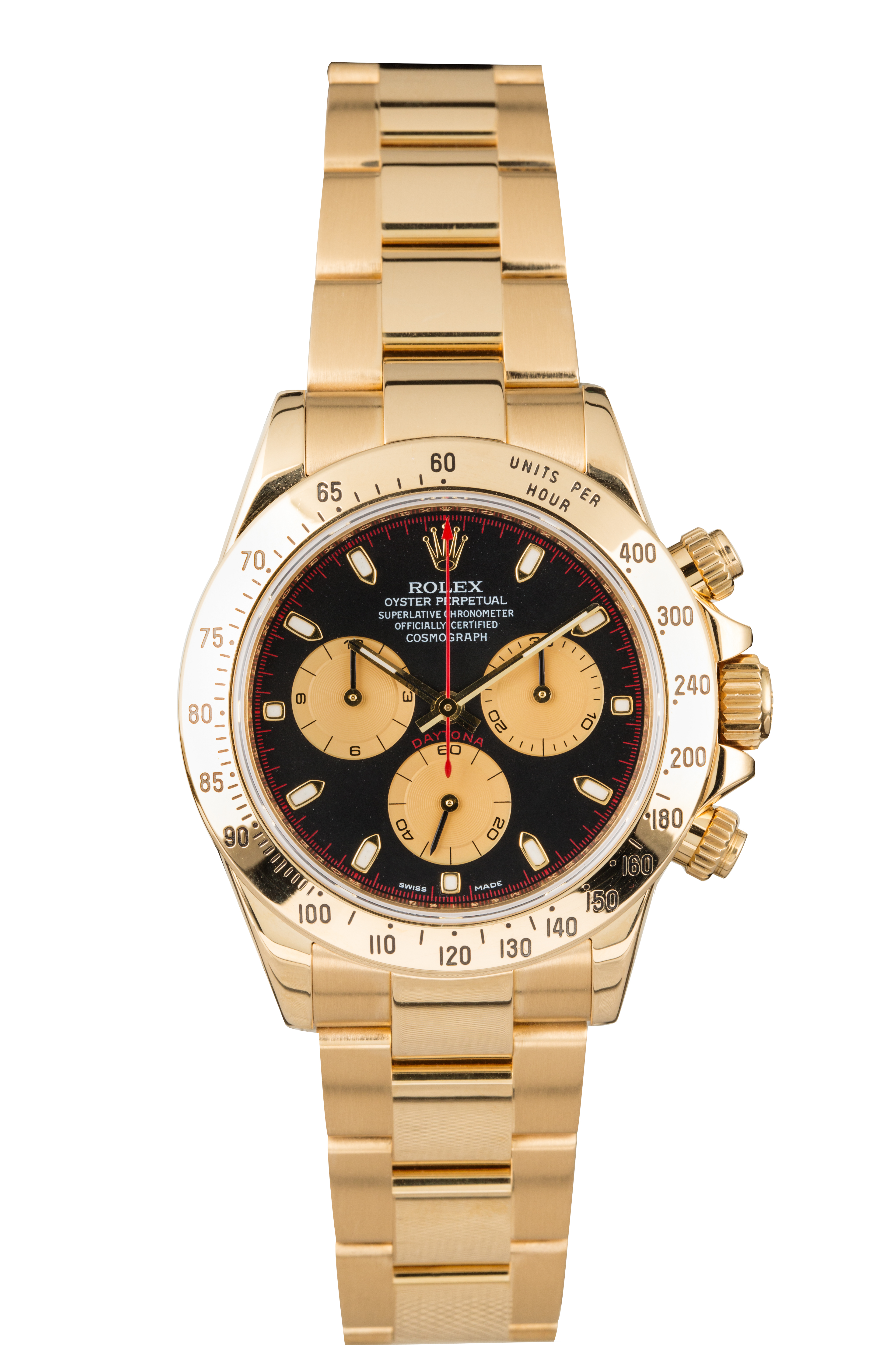 View full screen - View 1 of Lot 9. ROLEX | Daytona, Ref 116528 A Yellow Gold Chronograph Wristwatch with Bracelet Circa 2001.