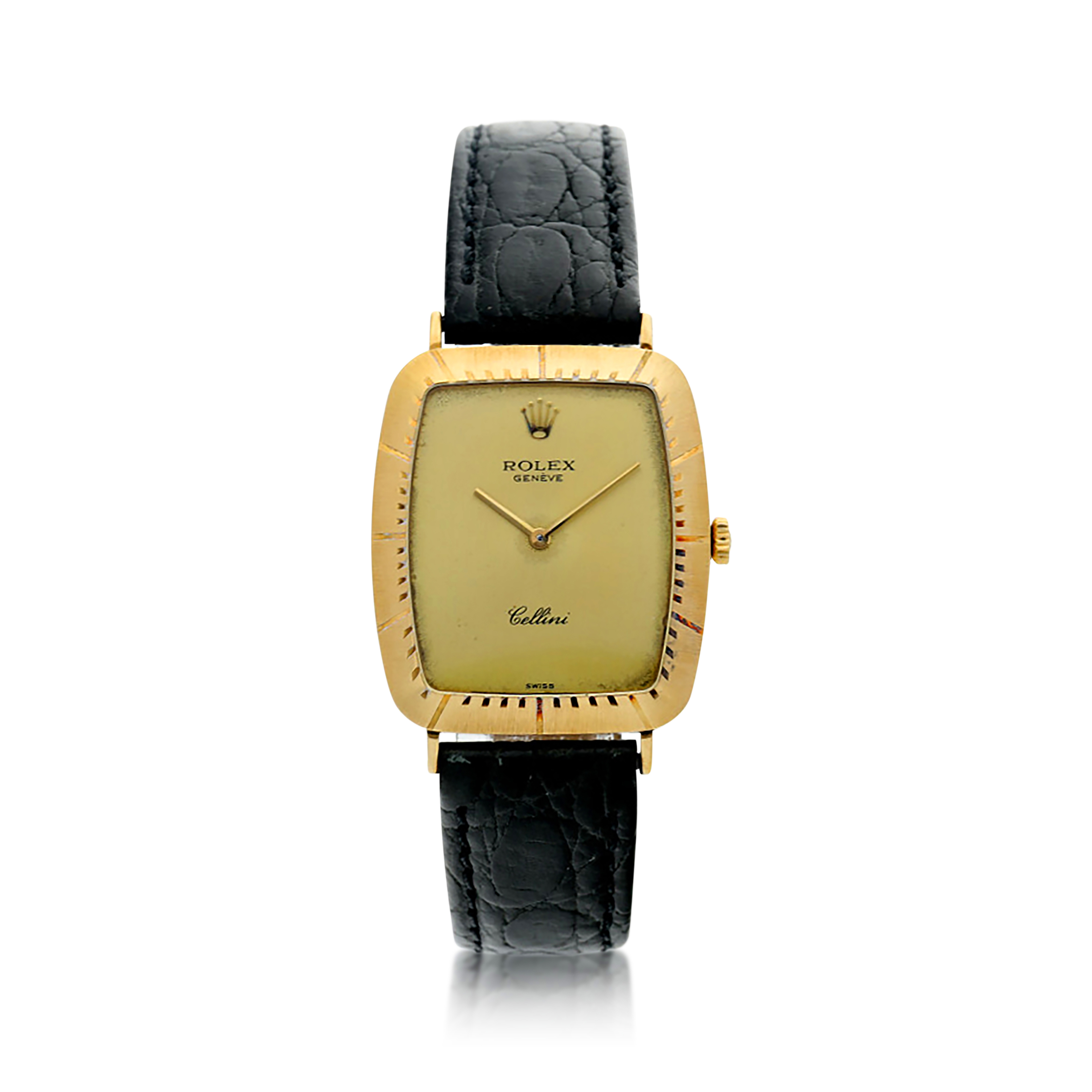 View full screen - View 1 of Lot 50. REFERENCE 4087  A YELLOW GOLD TONNEAU SHAPED WRISTWATCH, CIRCA 1980.