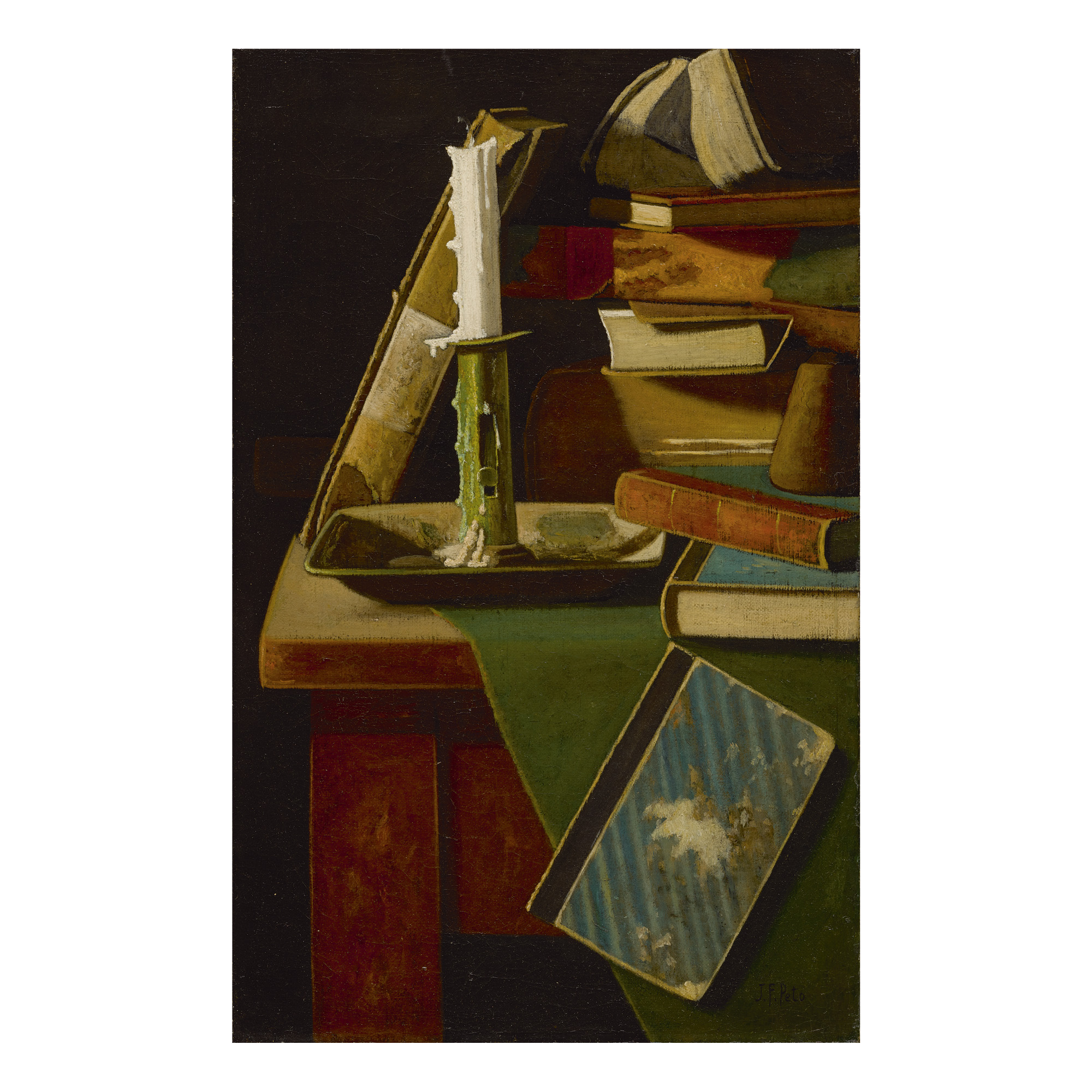 JOHN FREDERICK PETO | FORGOTTEN FRIENDS: CANDLESTICK AND BOOKS ON TABLE