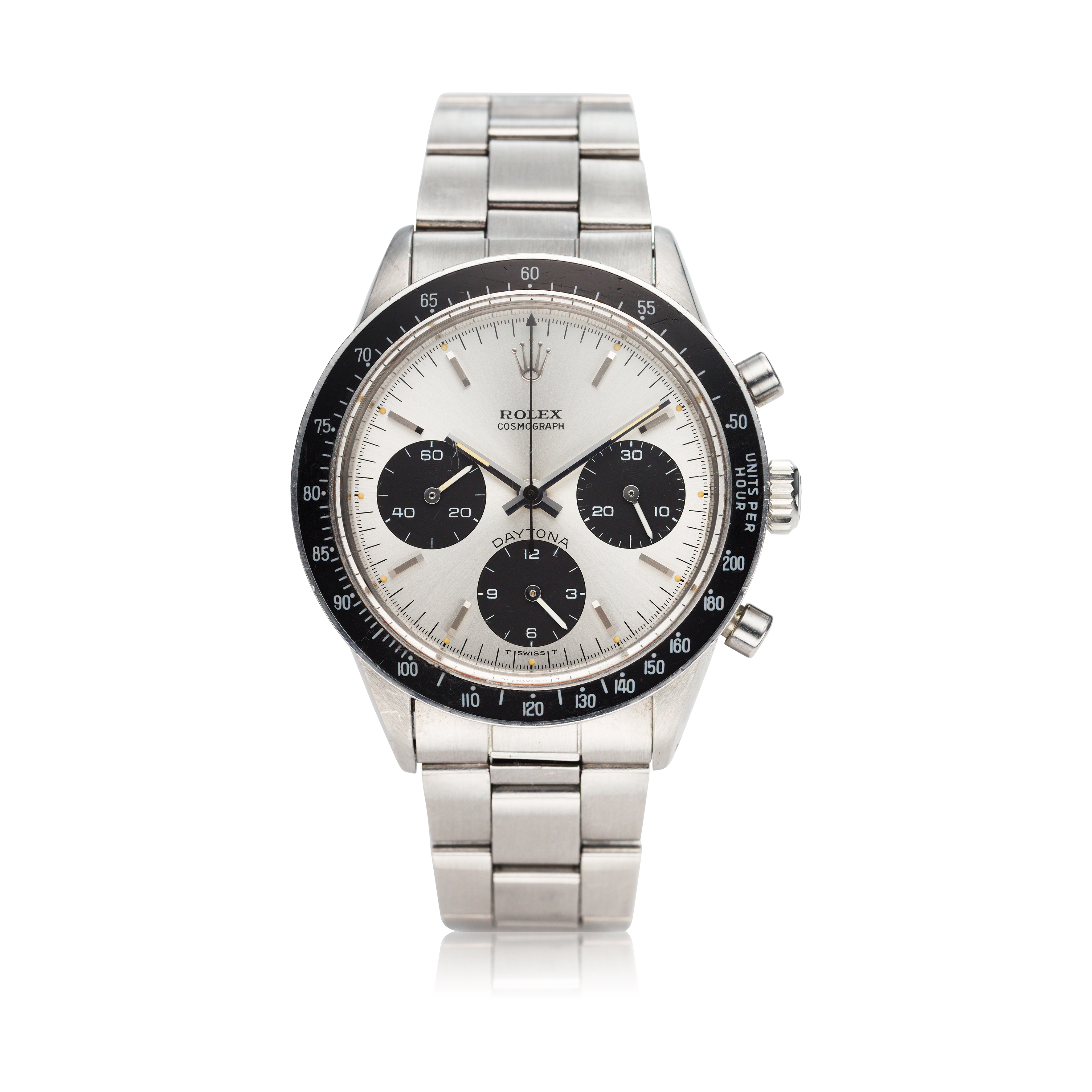 View full screen - View 1 of Lot 278. Reference 6264 Daytona  A stainless steel chronograph wristwatch with bracelet, Circa 1971 .