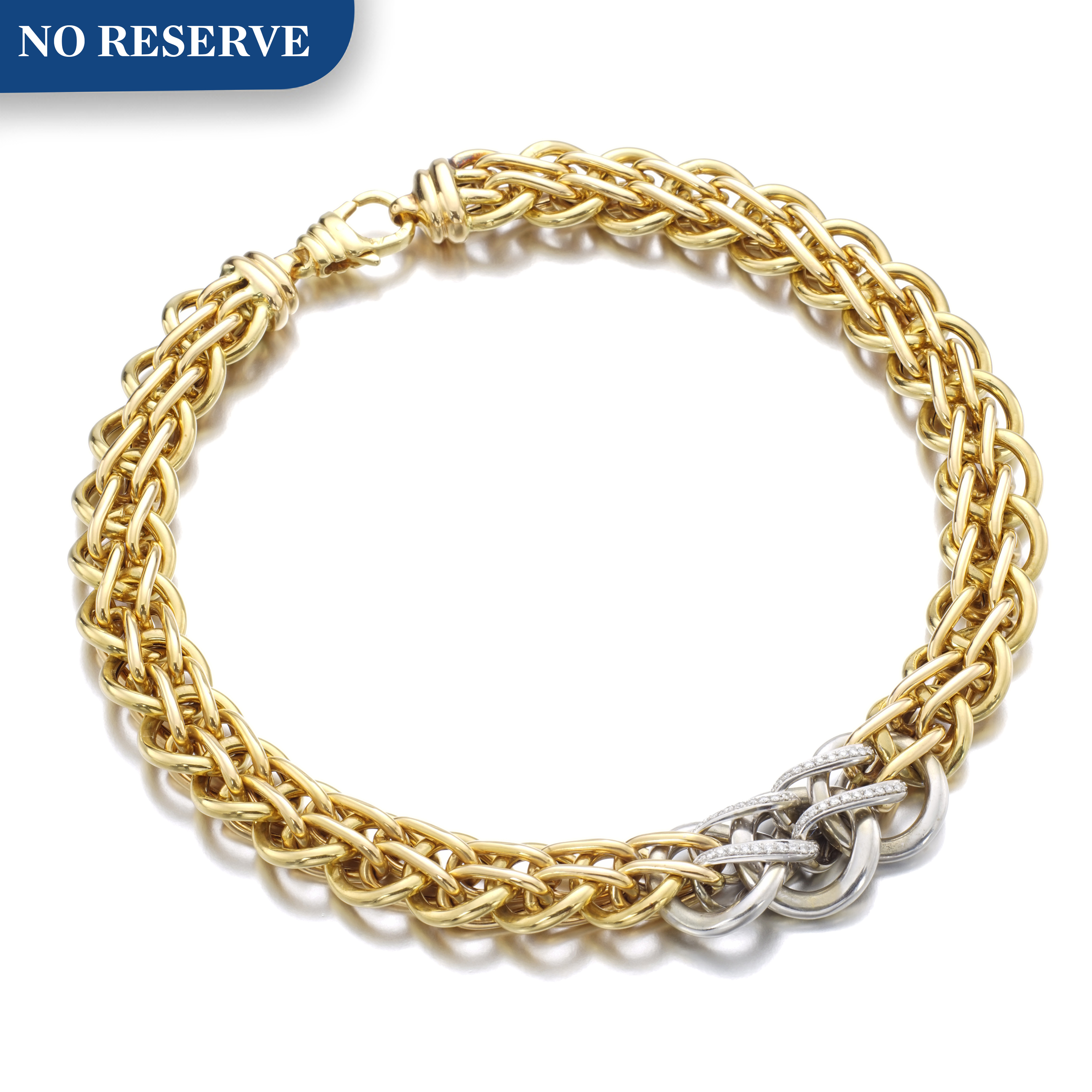 View full screen - View 1 of Lot 153. GOLD AND DIAMOND NECKLACE.