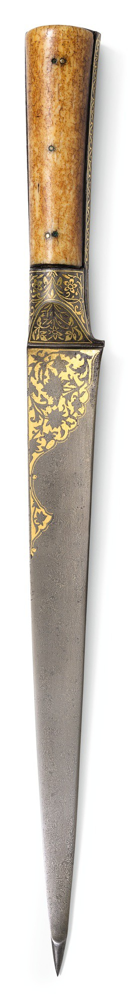 A LARGE WATERED-STEEL AND GOLD-INLAID DAGGER (KARD) WITH MARINE-IVORY HILT, PERSIA, SAFAVID, 17TH/18TH CENTURY
