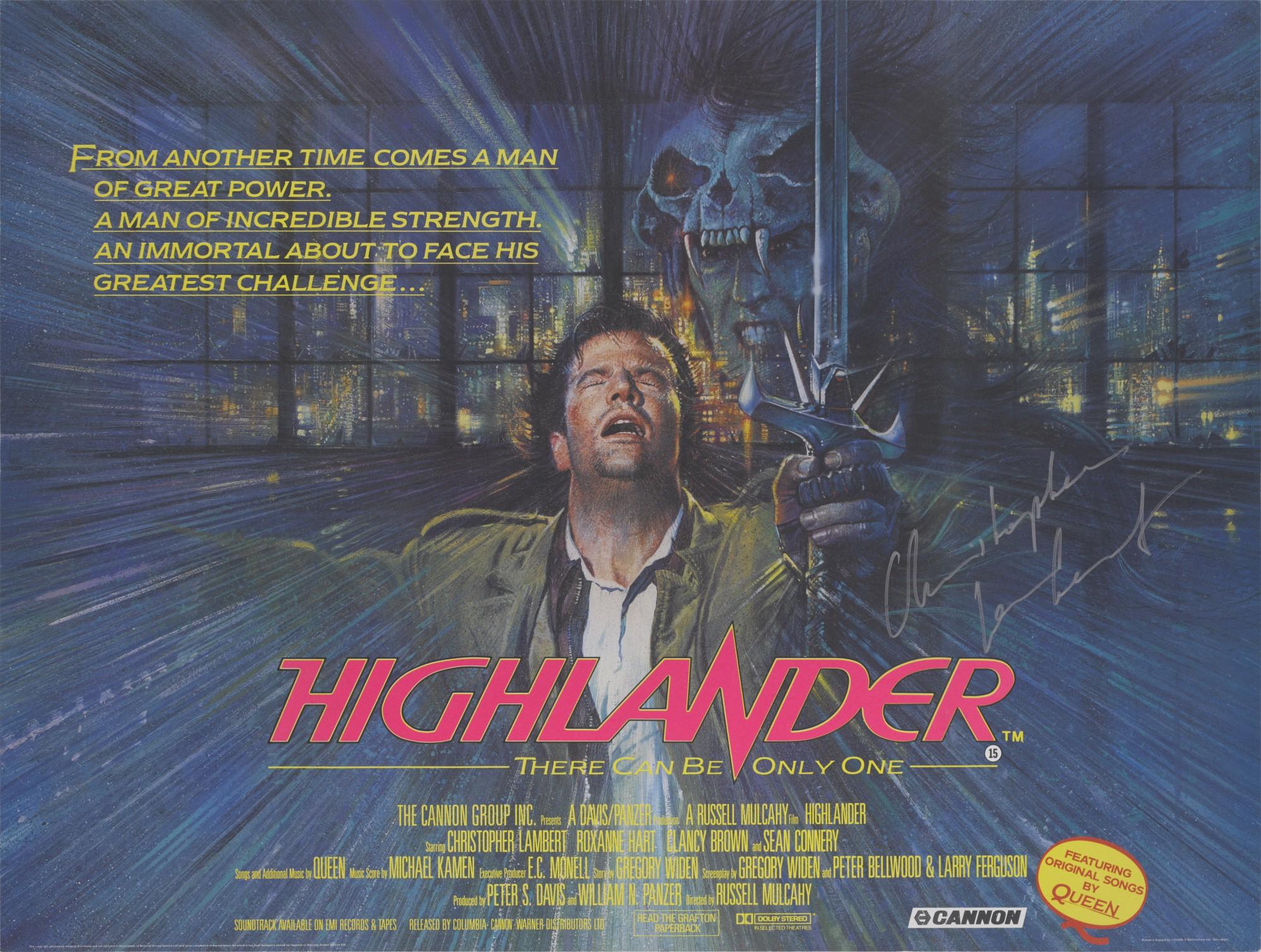 HIGHLANDER (1986) POSTER, BRITISH, SIGNED BY CHRISTOPHER LAMBERT   Original Film  Posters Online2020   Sotheby's