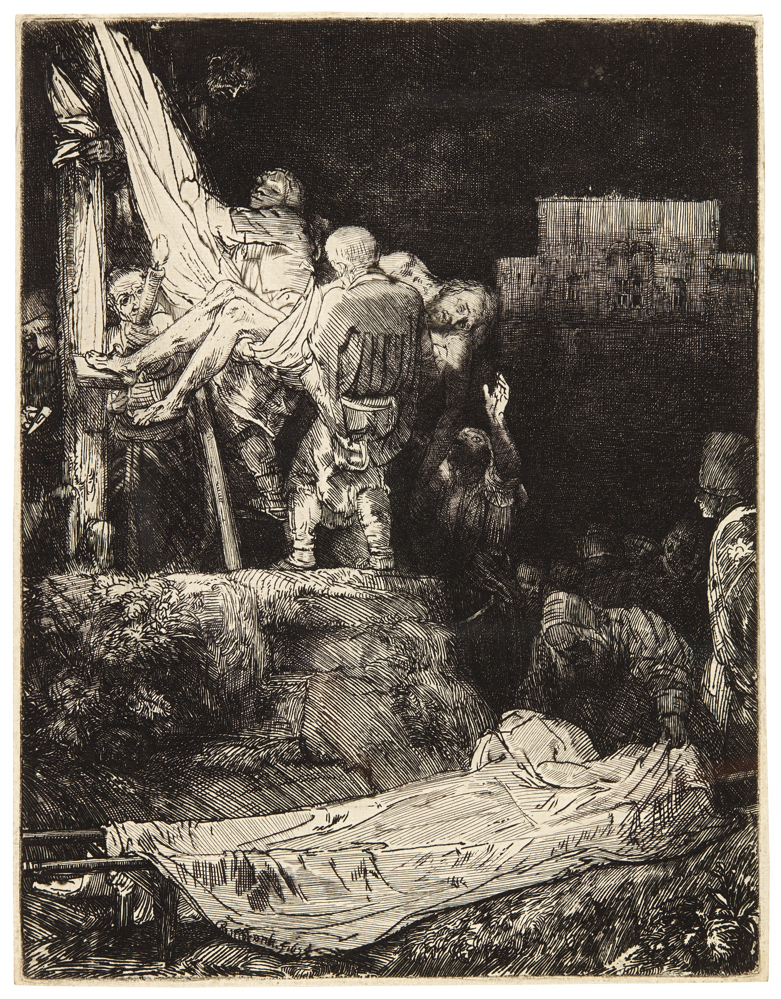 Rembrandt Workshop : The Descent from the Cross Fine Art Print//Poster