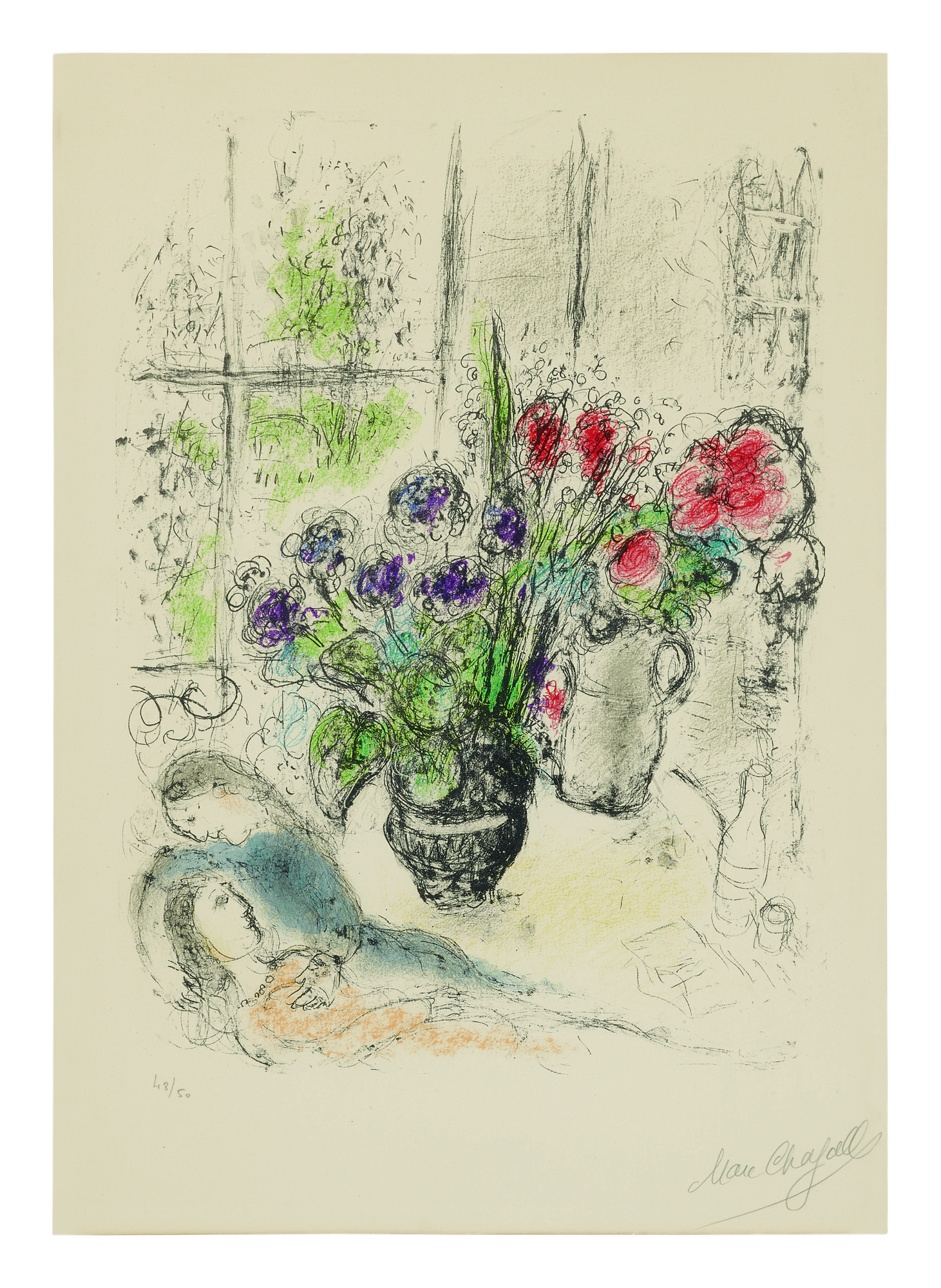 MARC CHAGALL | BOUQUET WITH LOVERS (MOURLOT 842)