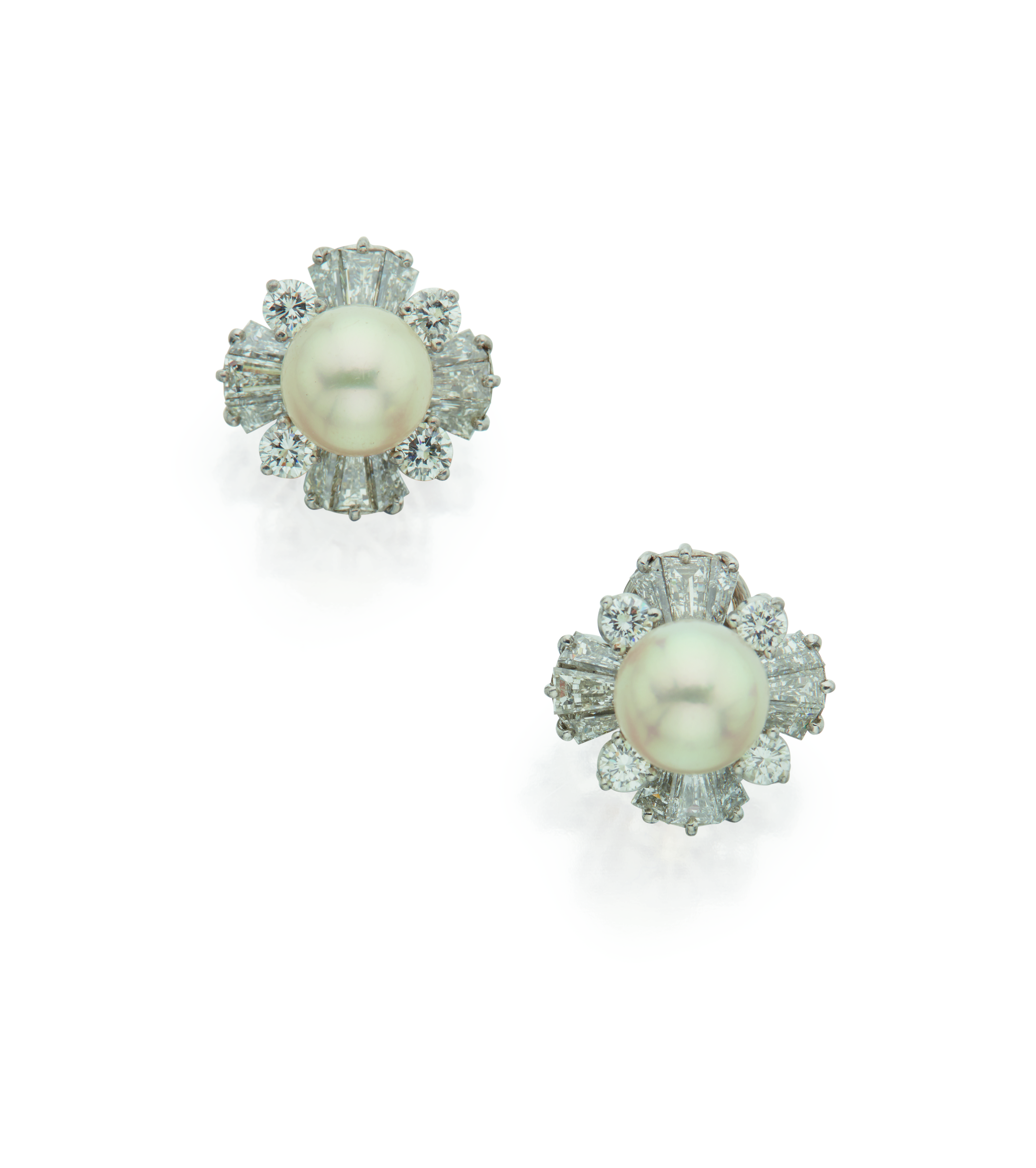 View full screen - View 1 of Lot 26. PAIR OF CULTURED PEARL AND DIAMOND EARCLIPS, OSCAR HEYMAN & BROTHERS.