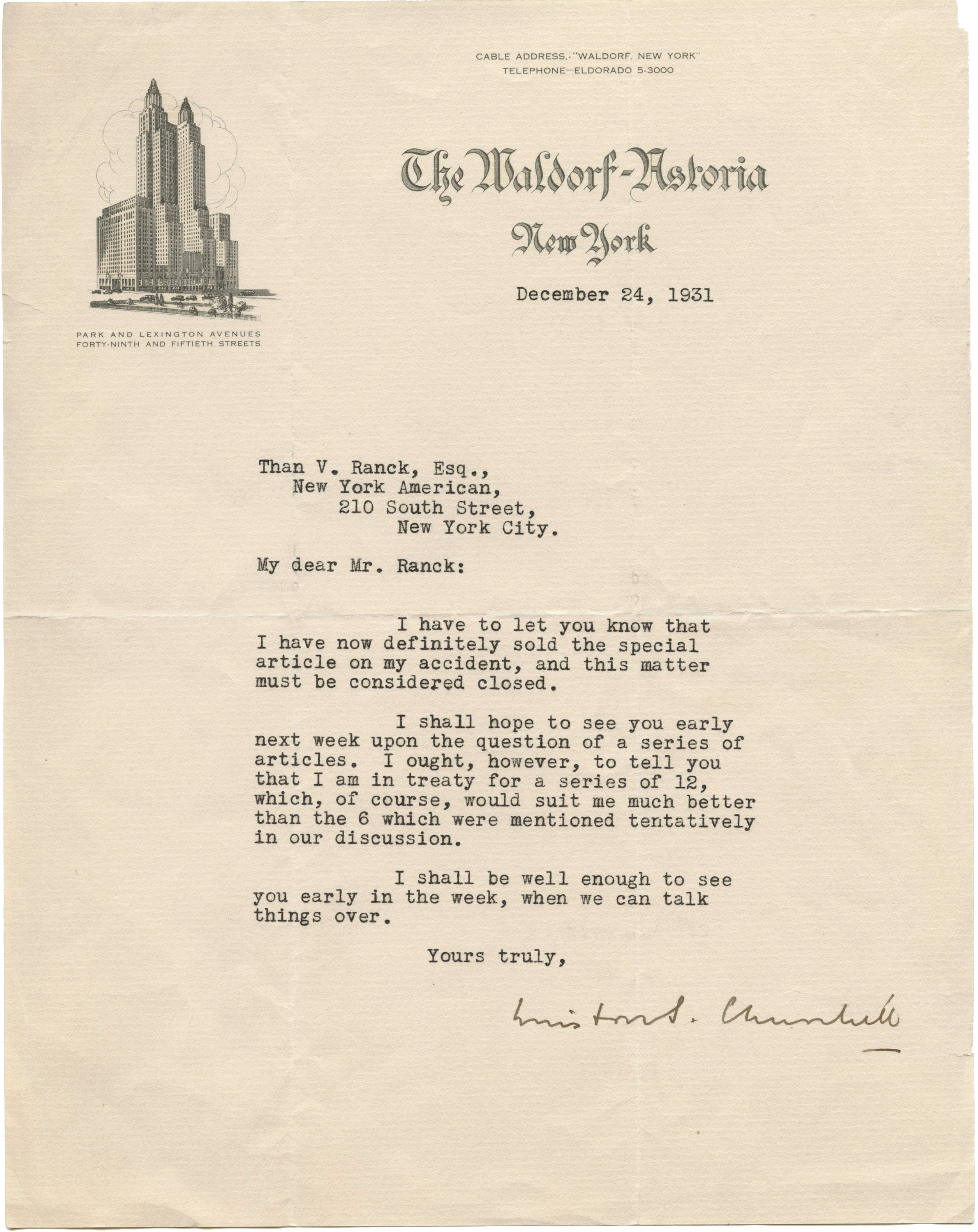 """View full screen - View 1 of Lot 39. Winston S. Churchill   Typed letter signed (""""Winston Churchill"""") to Than von Ranck, 24 December 1931."""