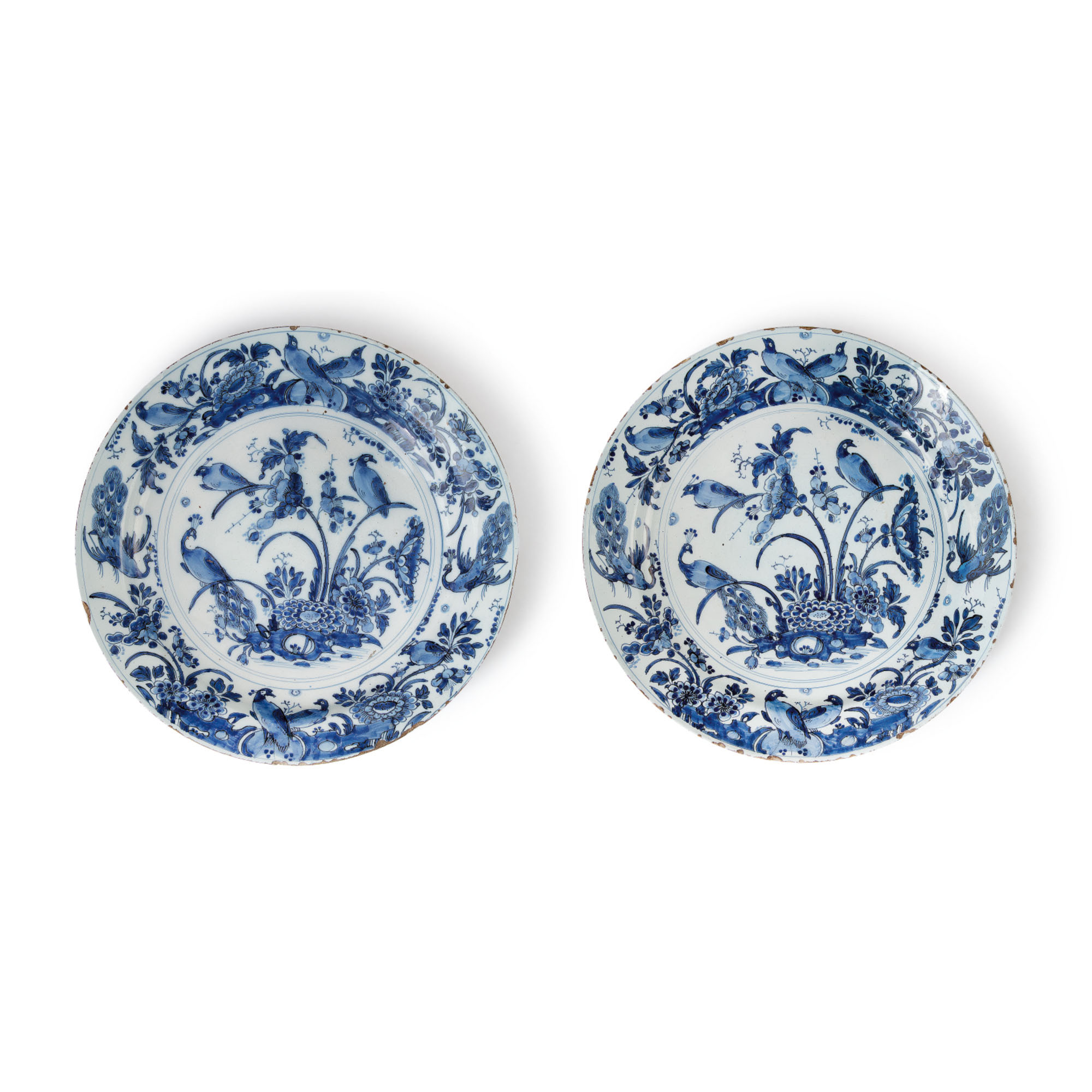 A PAIR OF DUTCH DELFT BLUE AND WHITE LARGE CHARGERS, CIRCA 1700