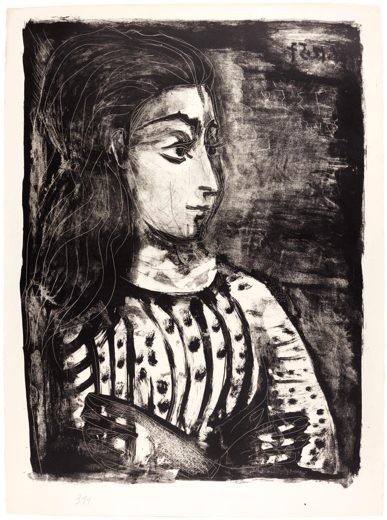 PABLO PICASSO | BUSTE DE FEMME AU CORSAGE BLANC - JACQUELINE DE PROFIL (B. 848; M. 311)