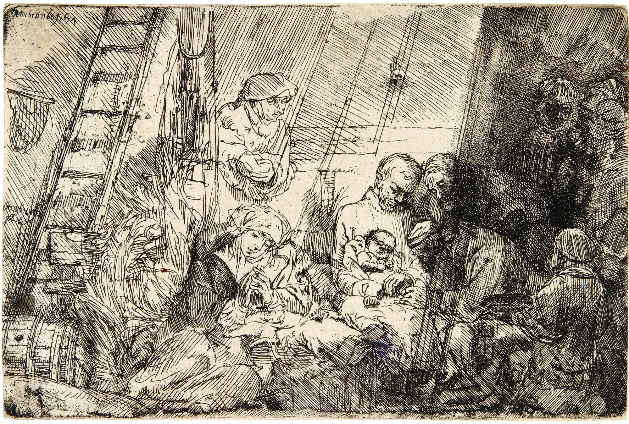 REMBRANDT HARMENSZ. VAN RIJN | THE CIRCUMCISION IN THE STABLE (B., HOLL. 47; NEW HOLL. 280; H. 274)