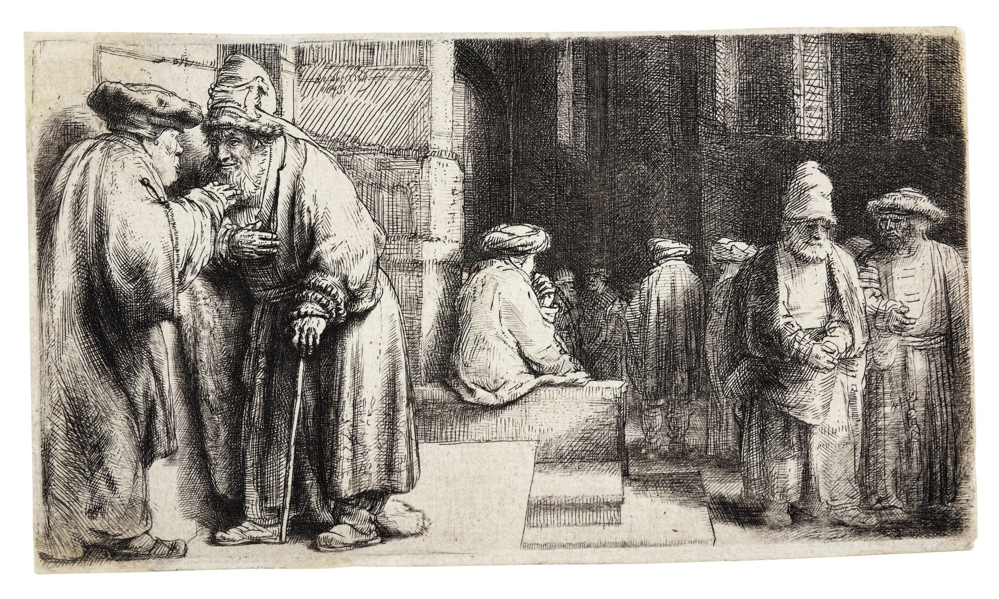 REMBRANDT HARMENSZ. VAN RIJN | JEWS IN THE SYNAGOGUE (B., HOLL. 126; NEW HOLL. 242; H. 234)