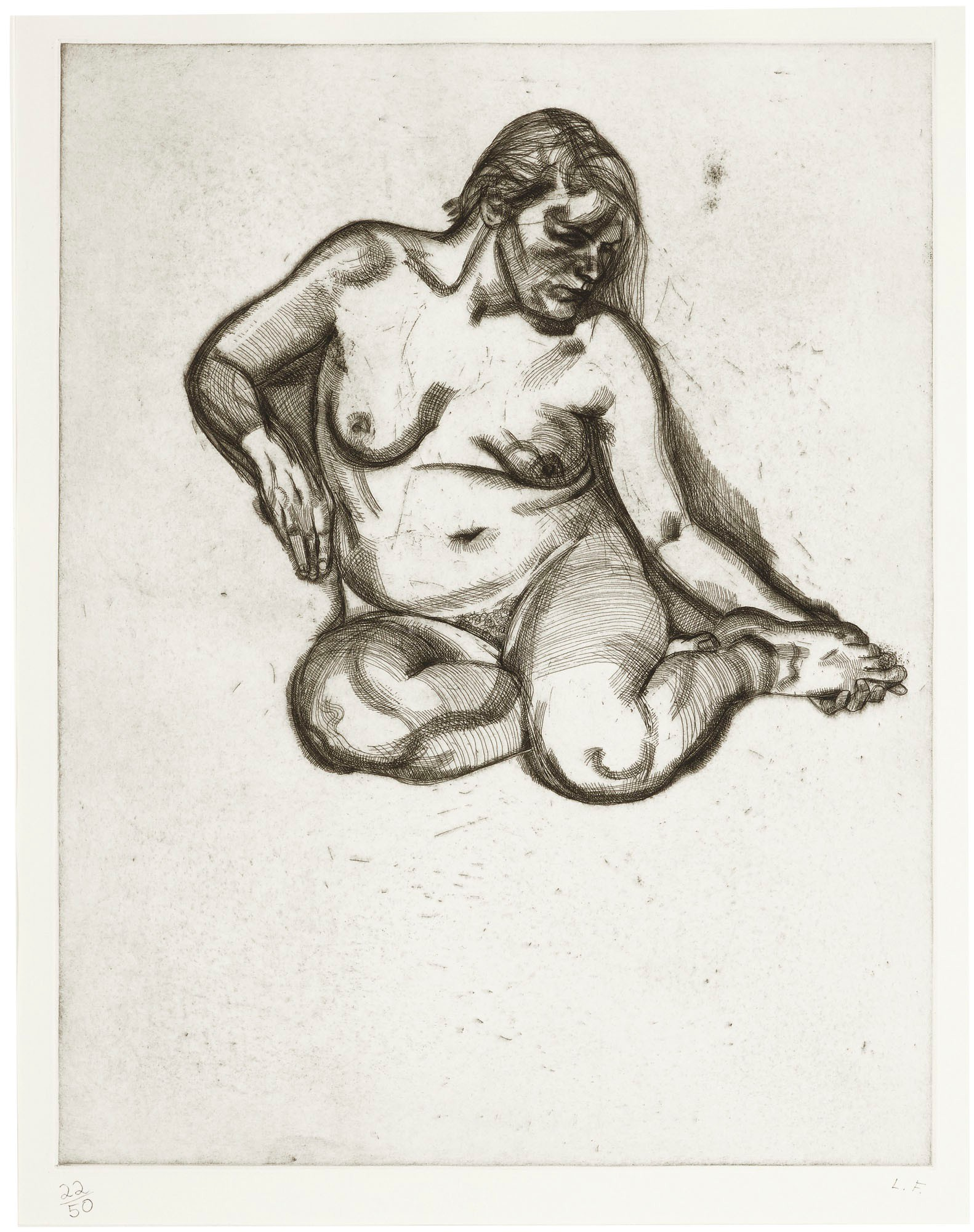 LUCIAN FREUD | GIRL HOLDING HER FOOT (H. 25; F. 34)