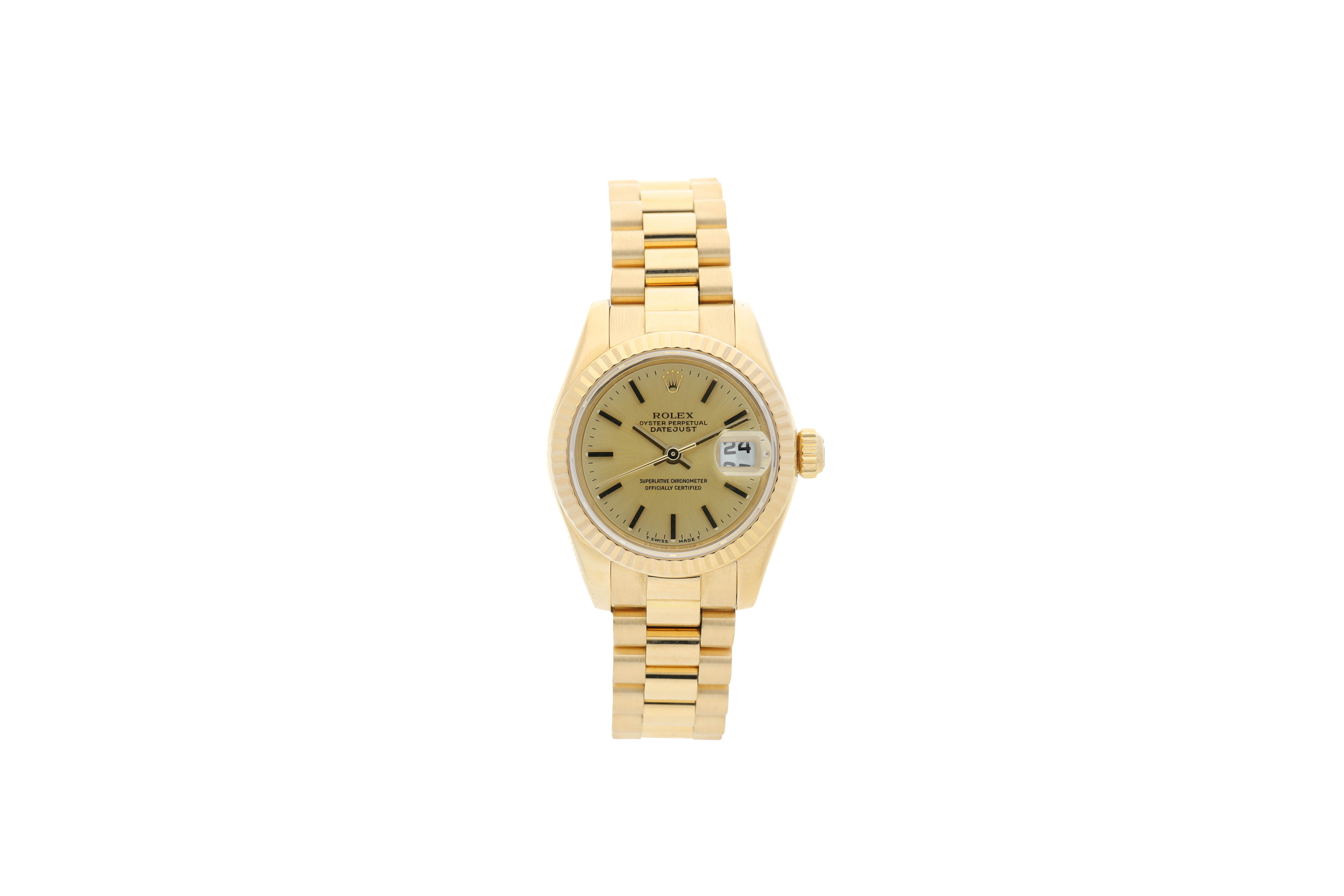 View full screen - View 1 of Lot 460. ROLEX | REFERENCE 179178 DATEJUST  A YELLOW GOLD AUTOMATIC WRISTWATCH WITH DATE AND BRACELET, CIRCA 2002.