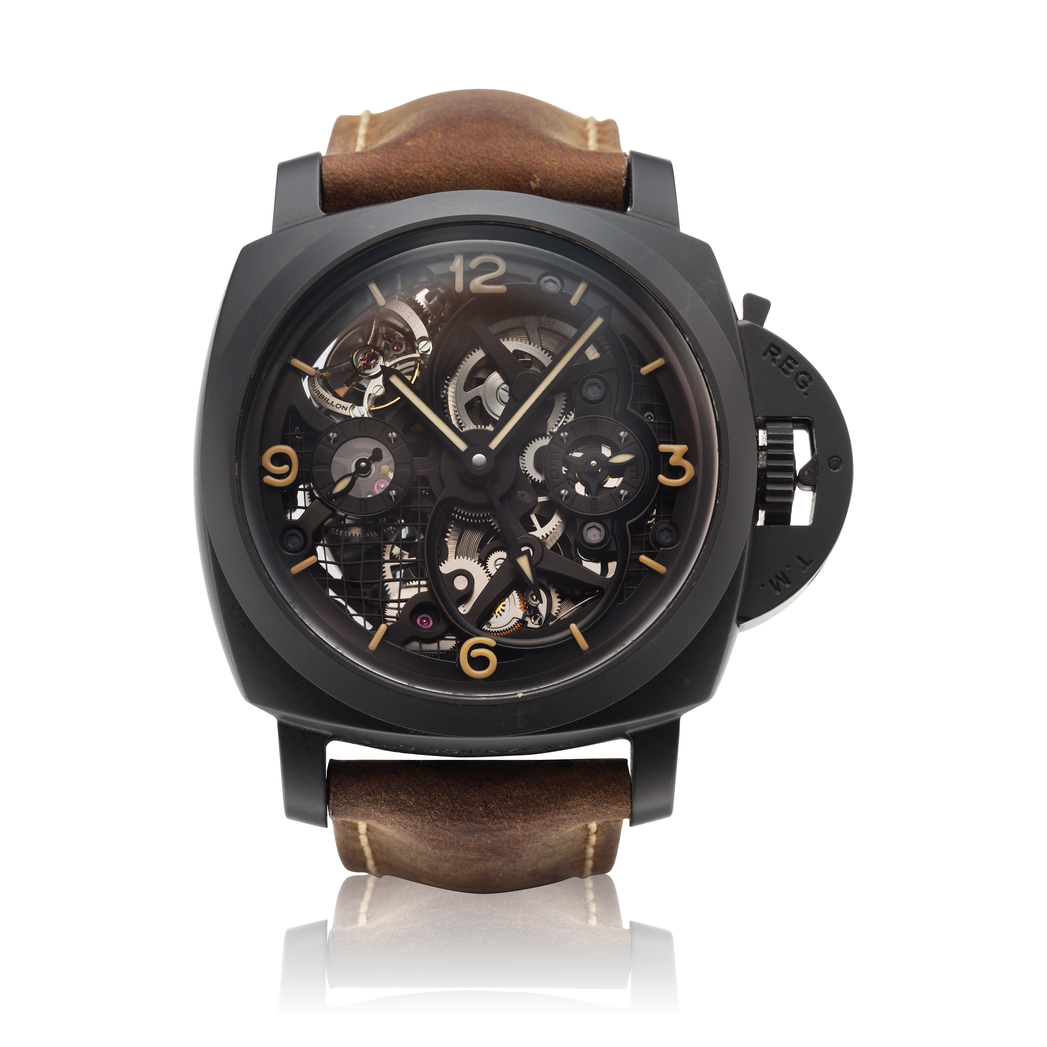 View full screen - View 1 of Lot 311. Reference PAM00528 Luminor 1950 Tourbillon GMT  A limited edition black ceramic and titanium skeletonized tourbillon dual time wristwatch, Circa 2014.
