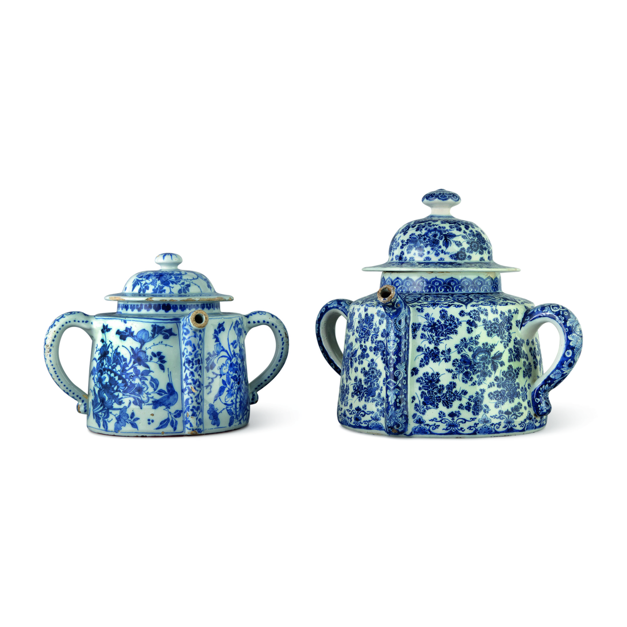 TWO DUTCH DELFT BLUE AND WHITE POSSET POTS AND COVERS, EARLY 18TH CENTURY