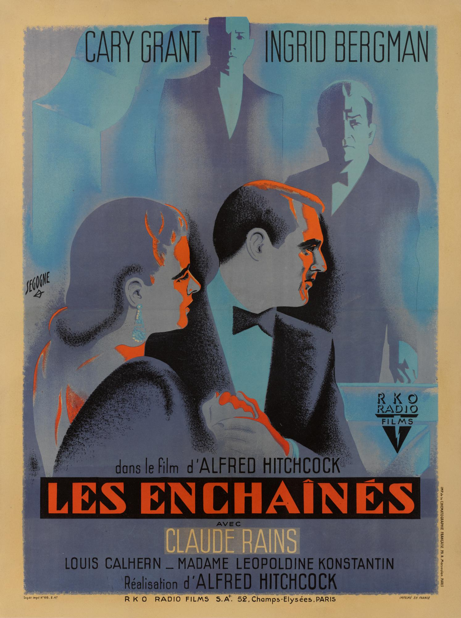 NOTORIOUS / LES ENCHAINES (1946) POSTER, FRENCH