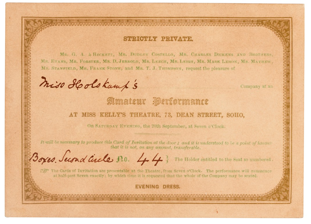 [Dickens], Signed invitation card and playbill for Every Man in his Humour