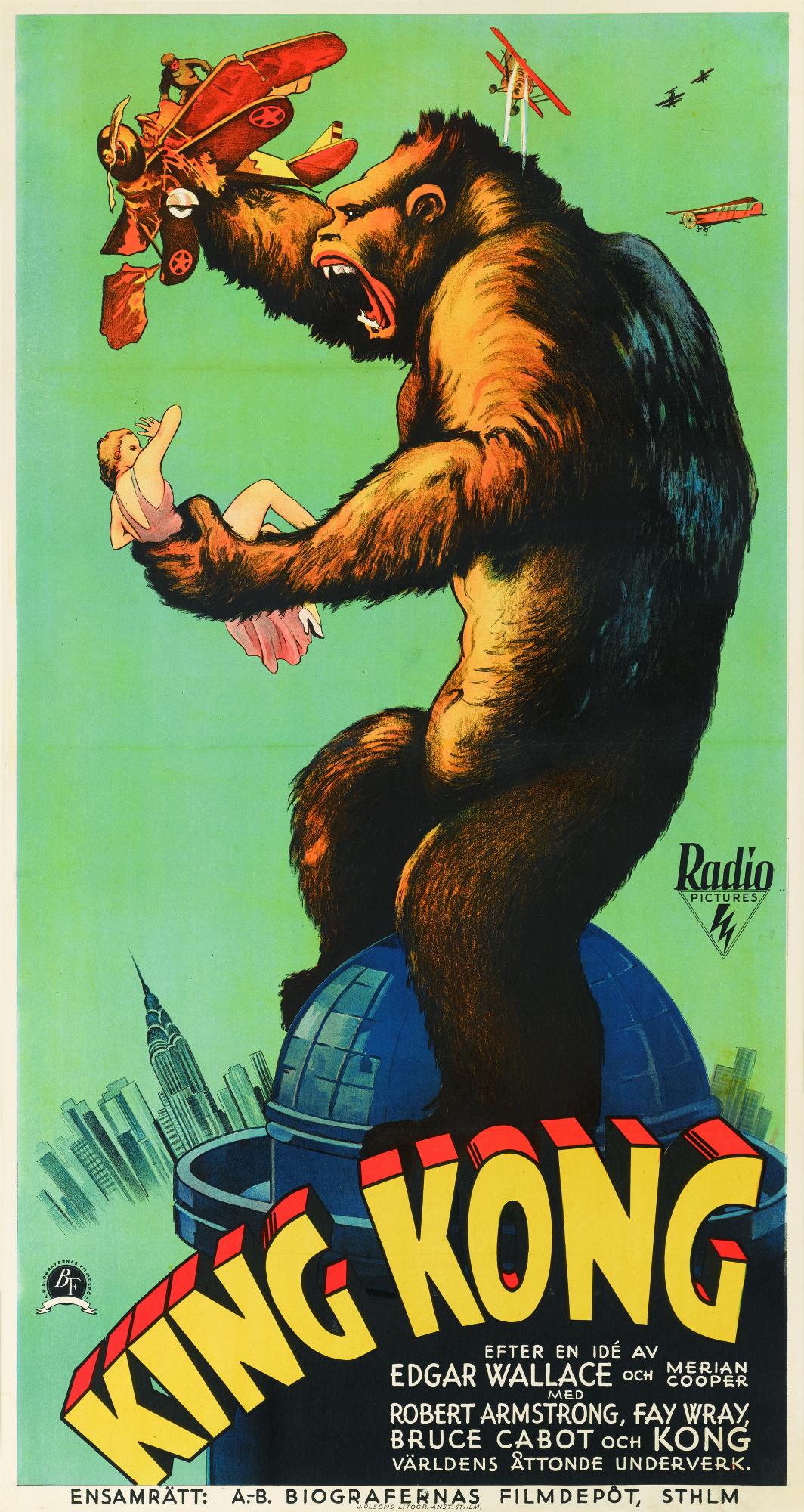 Lot 92 King Kong 1933 Poster Swedish Original Film