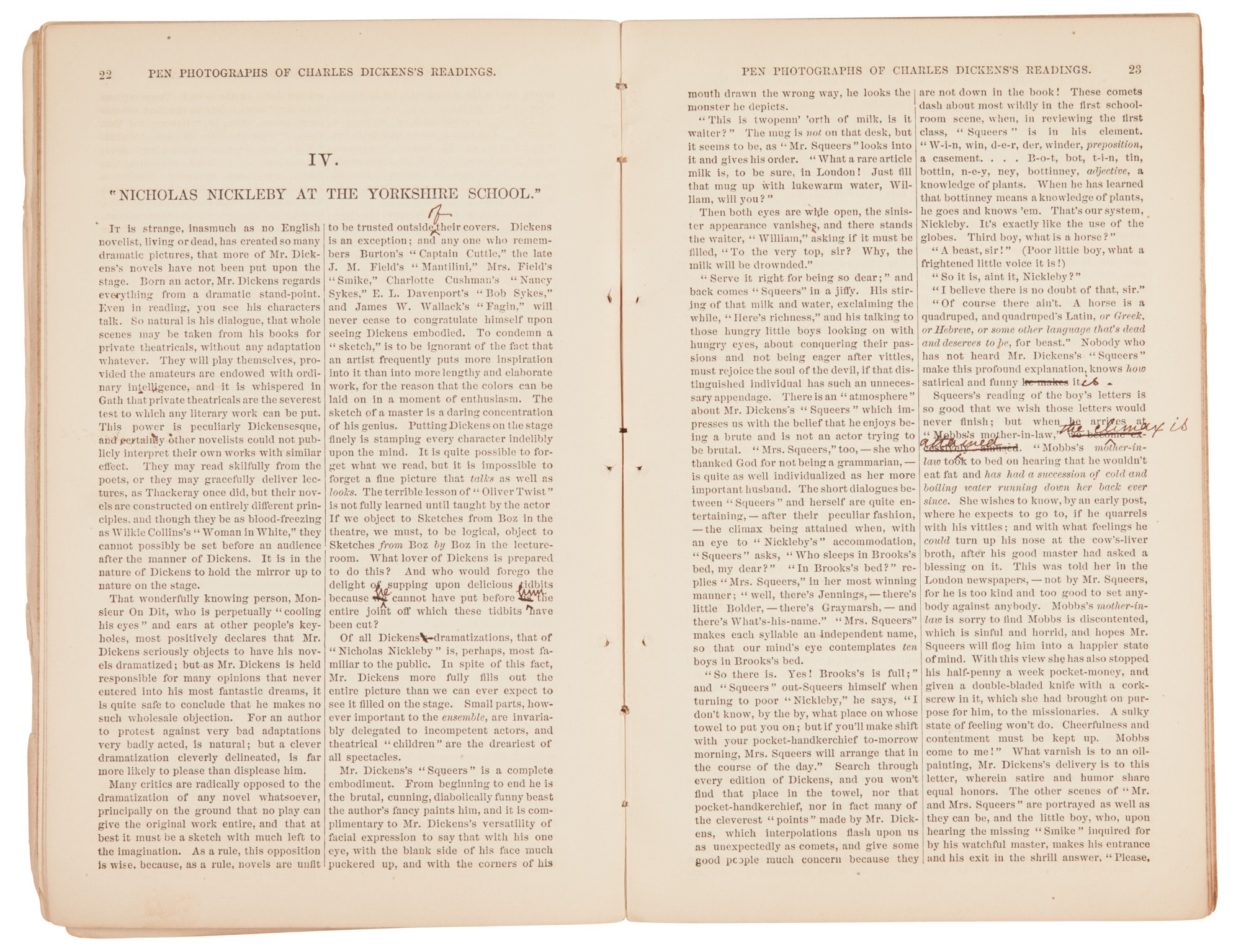 Field, Pen Photographs of Charles Dickens's Readings, 1868, inscribed and corrected by the author