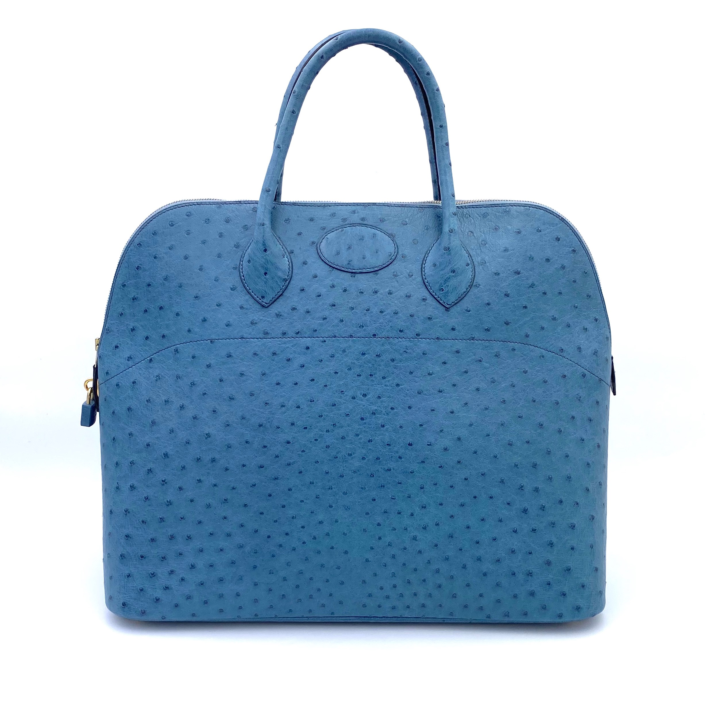 View full screen - View 1 of Lot 343. Teal Bolide 45cm in Ostrich Leather with Gold Hardware, 1997.