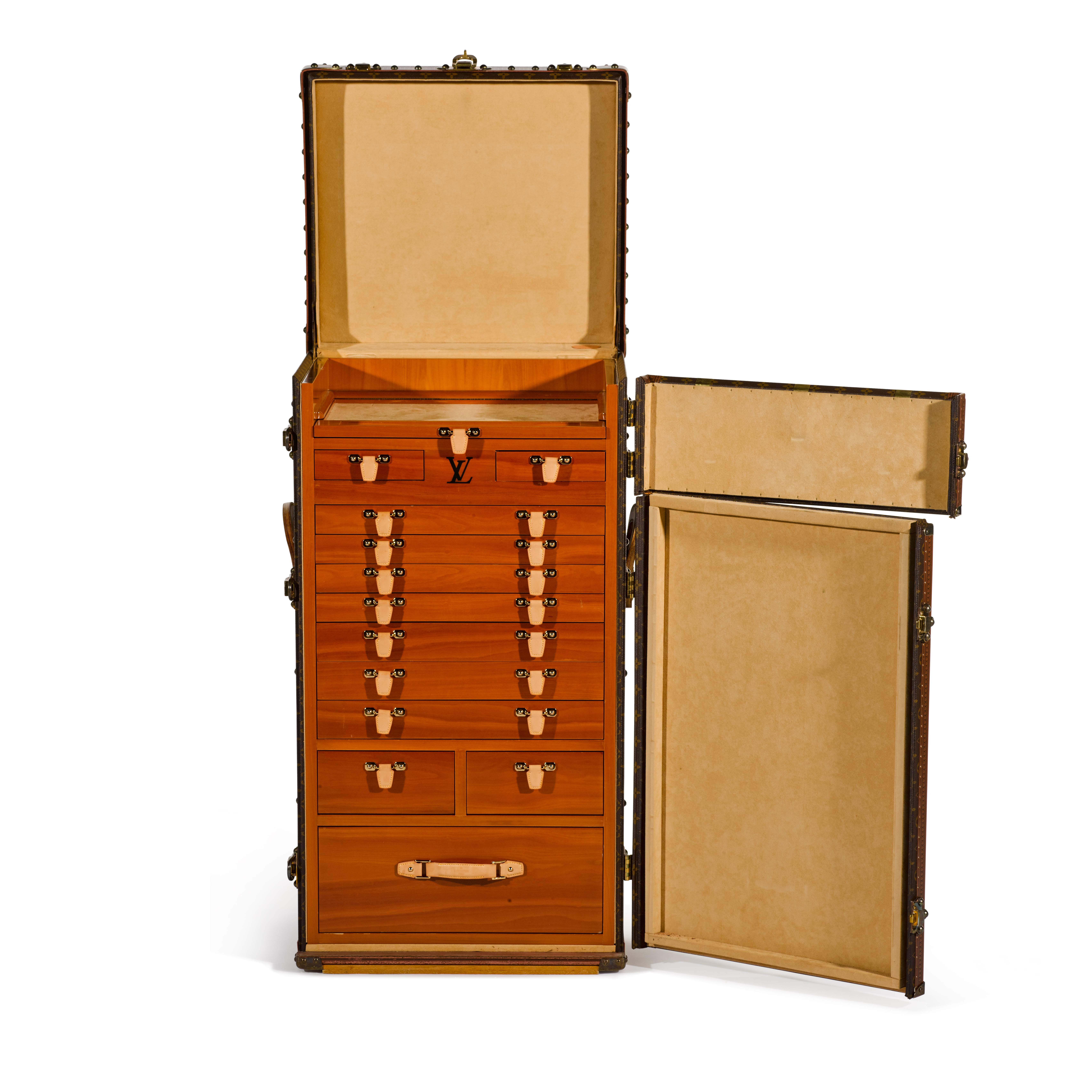 View full screen - View 1 of Lot 63. Brown Classic Monogram Canvas Cigar Humidor Trunk Brass Hardware, Circa 1990s.
