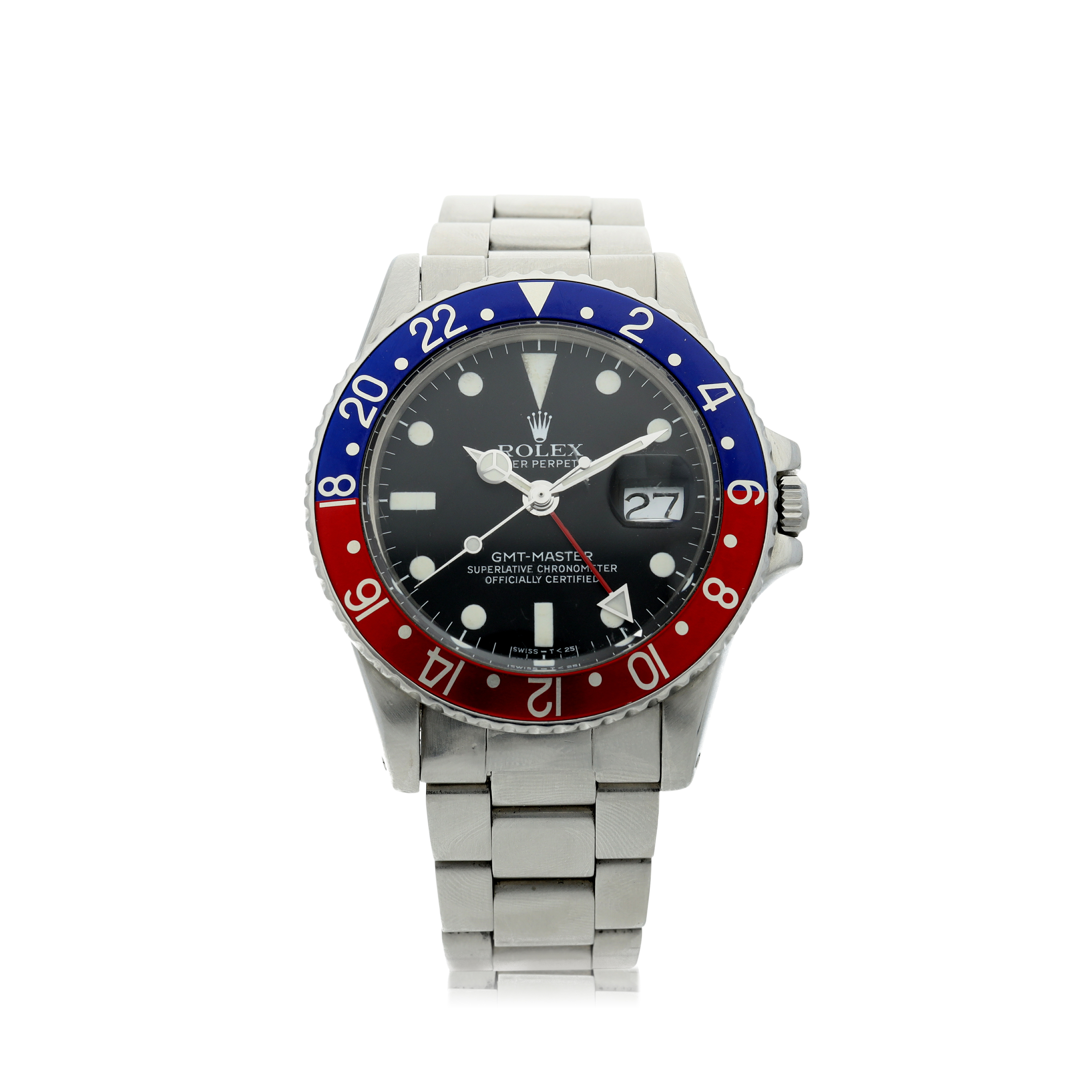 View full screen - View 1 of Lot 101. ROLEX   REFERENCE 1675 GMT-MASTER 'PEPSI' A STAINLESS STEEL AUTOMATIC DUAL TIME WRISTWATCH WITH DATE AND BRACELET, CIRCA 1970.