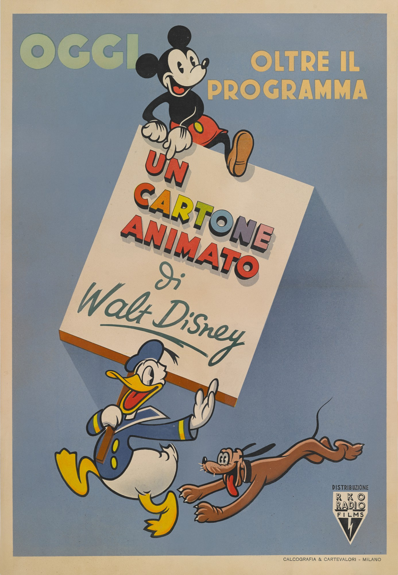WALT DISNEY ANIMATION / UN CARTONE ANIMATO (1940'S) POSTER, ITALIAN