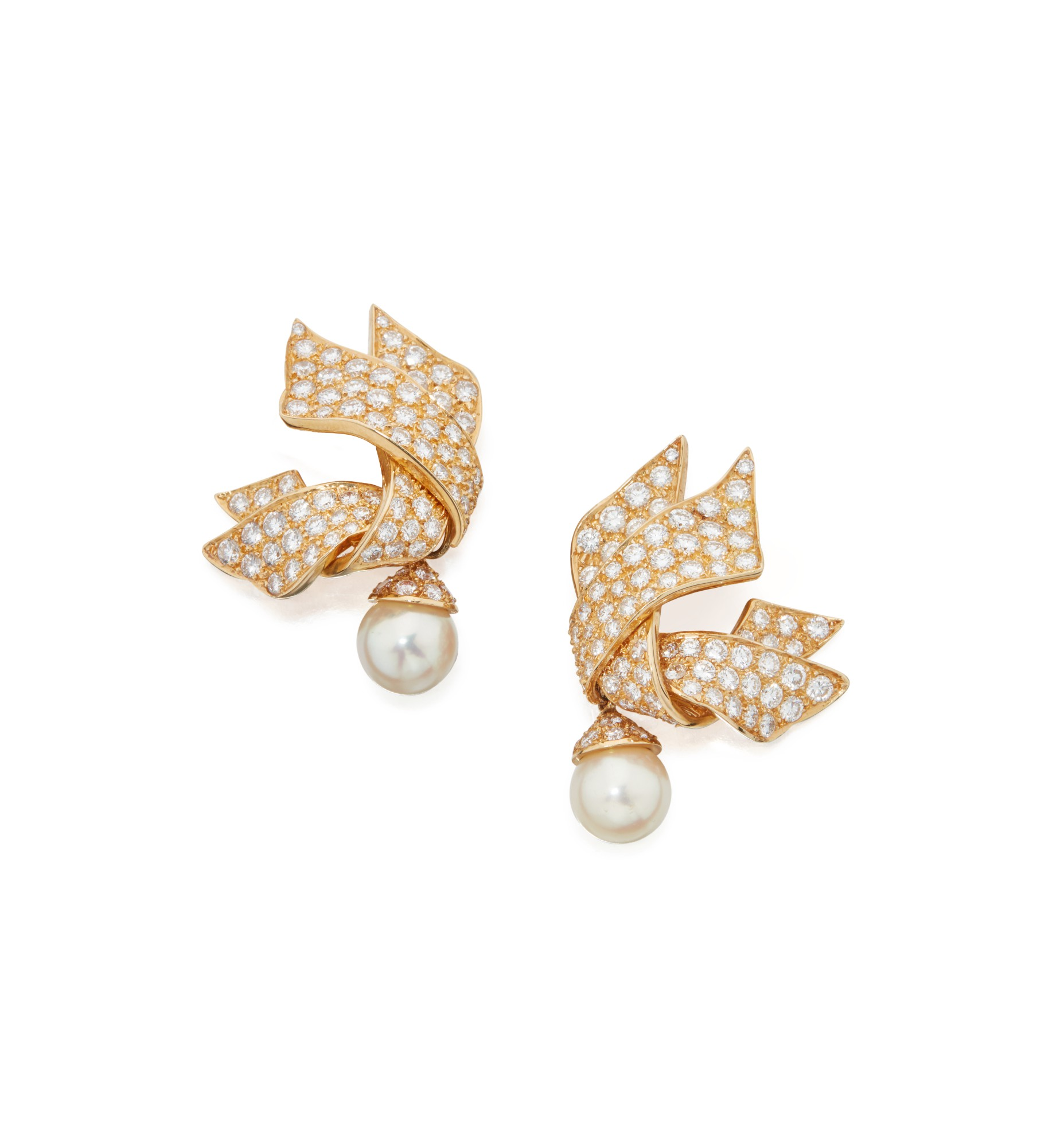 PAIR OF CULTURED PEARL AND DIAMOND EARCLIPS, CHANEL, FRANCE