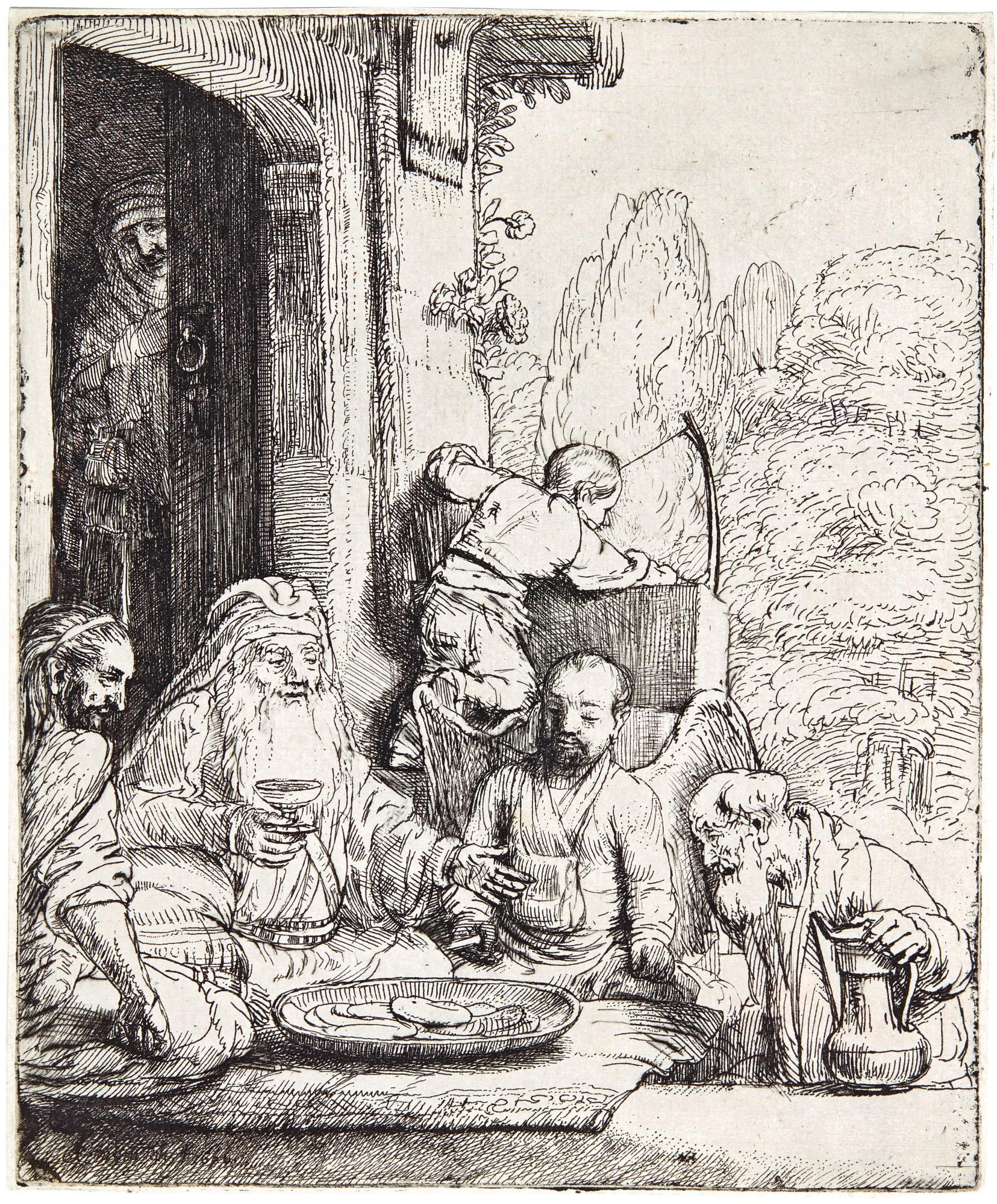 REMBRANDT HARMENSZ. VAN RIJN | ABRAHAM ENTERTAINING THE ANGELS (B., HOLL. 29; NEW HOLL. 295; H. 286)