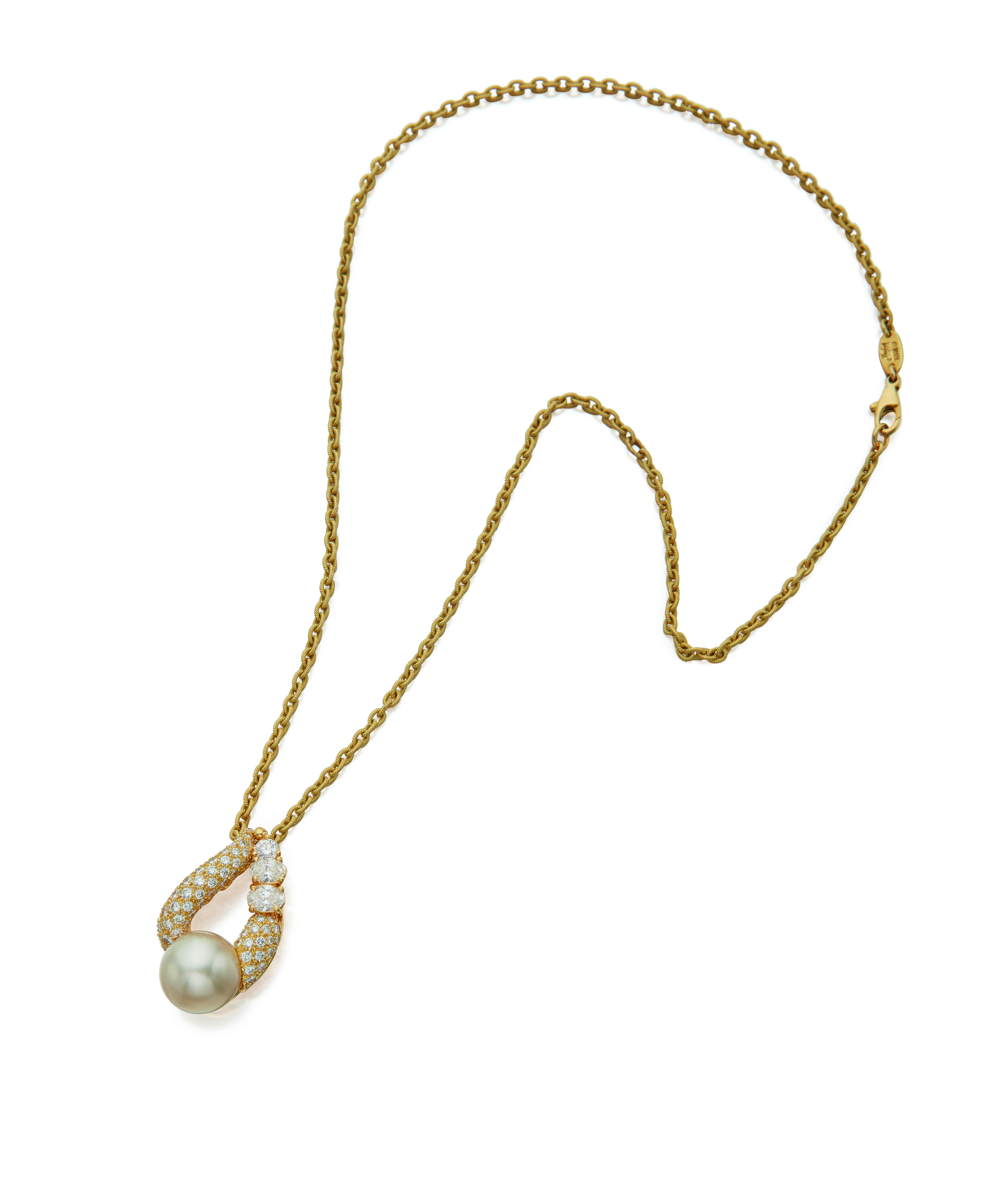 View full screen - View 1 of Lot 47. CULTURED PEARL AND DIAMOND PENDANT-NECKLACE, HENRY DUNAY.