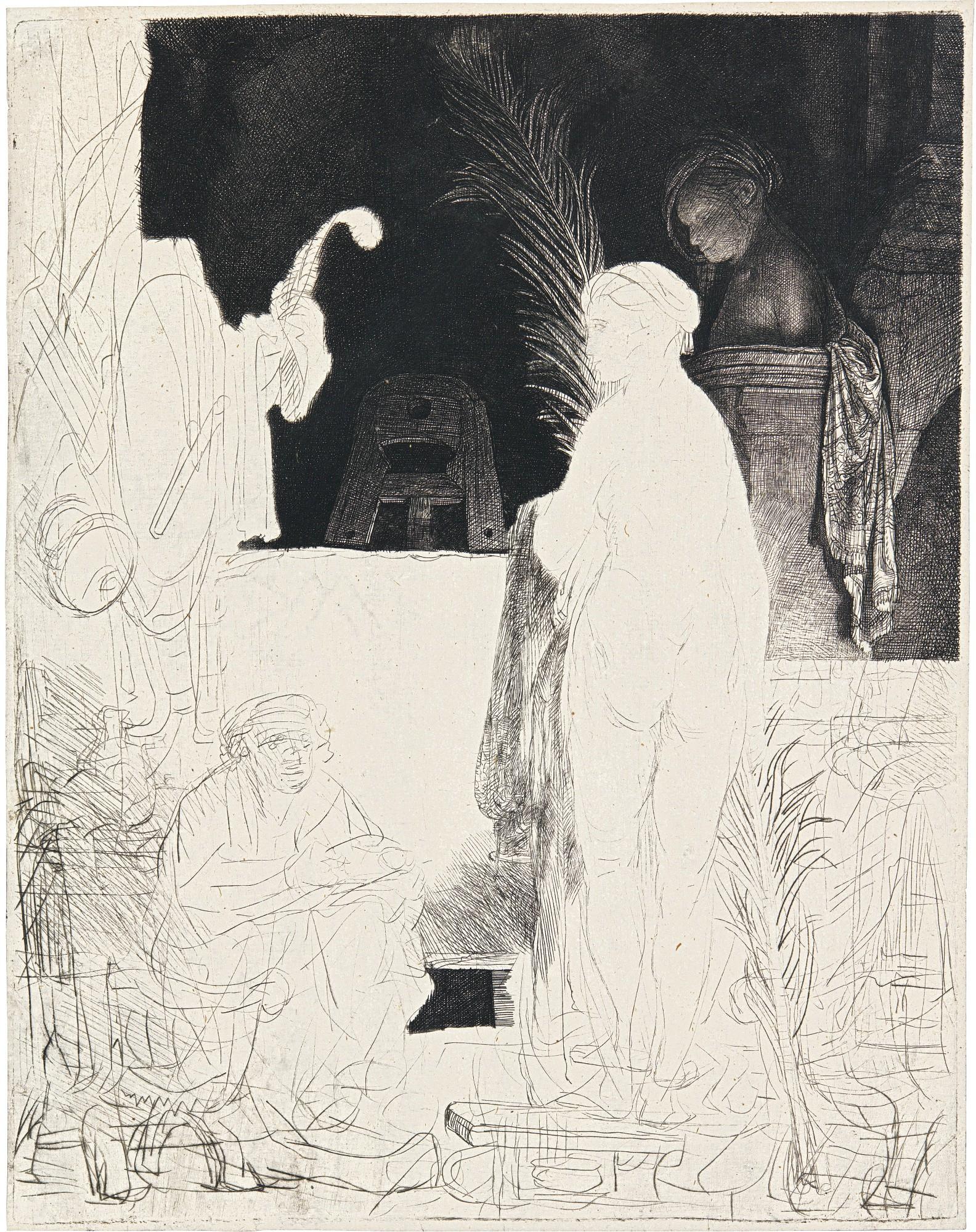 REMBRANDT HARMENSZ. VAN RIJN | THE ARTIST DRAWING FROM THE MODEL ('HET BEELDT VAN PIGMALION') (B., HOLL. 192; NEW HOLL. 176; H. 231)