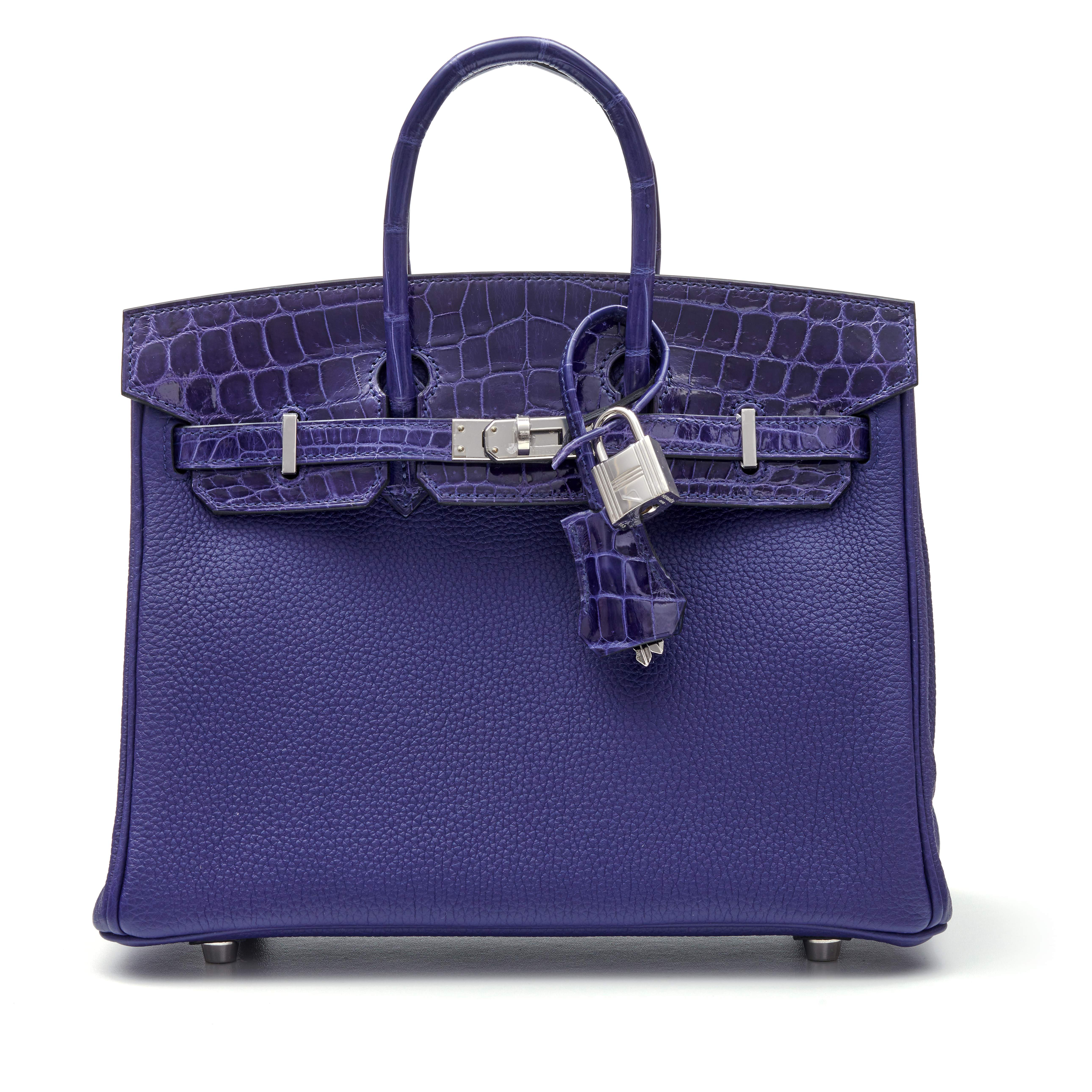 View full screen - View 1 of Lot 341. Bleu Encre Touch Birkin 25cm in Togo Leather and Shiny Niloticus Crocodile with Palladium Hardware, 2018.